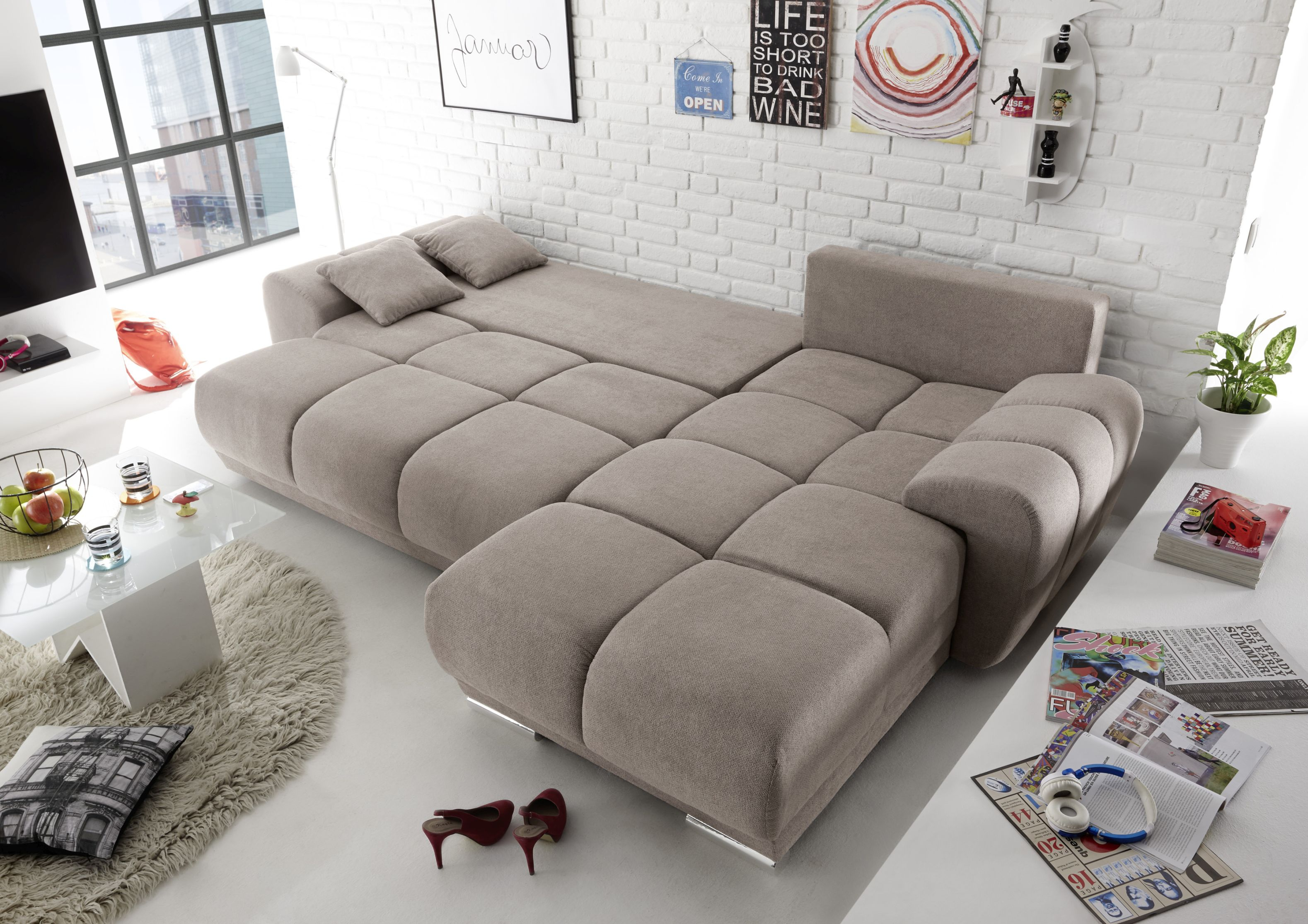ecksofa couch schlafcouch schlafsofa funktionssofa ausziehbar taupe 289 cm ebay. Black Bedroom Furniture Sets. Home Design Ideas