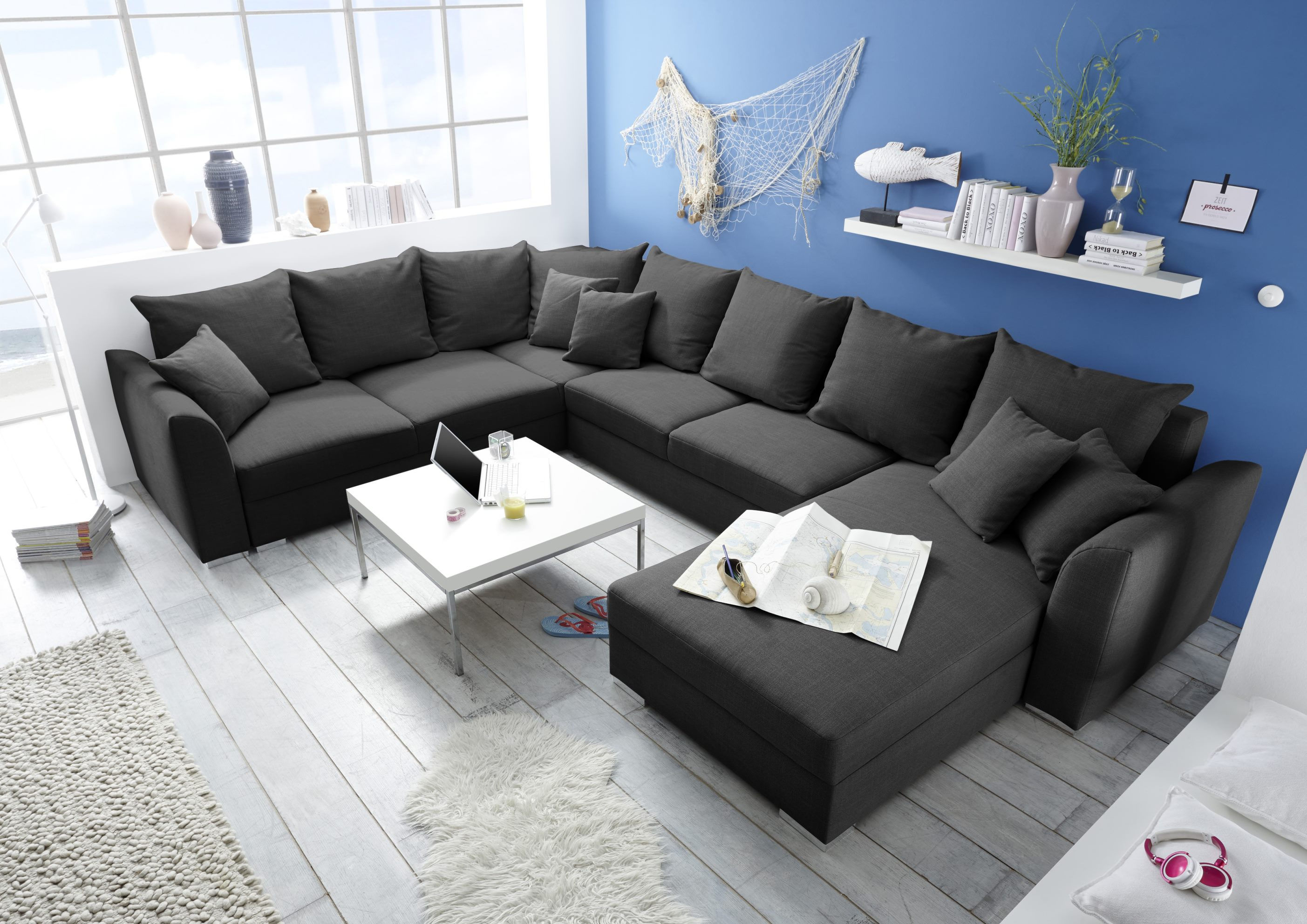 couch sofa eckcouch ecksofa schlafsofa schlafcouch wohnlandschaft 361cm grau ebay. Black Bedroom Furniture Sets. Home Design Ideas