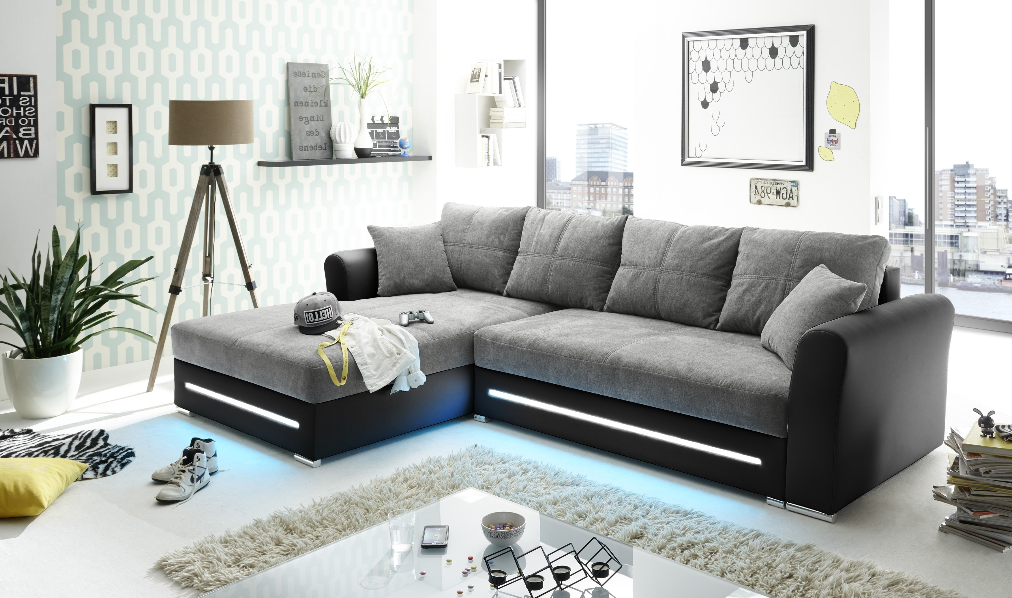 Schlafcouch Schlamm Grau Schwarz L Form Led Sofa Couch Led