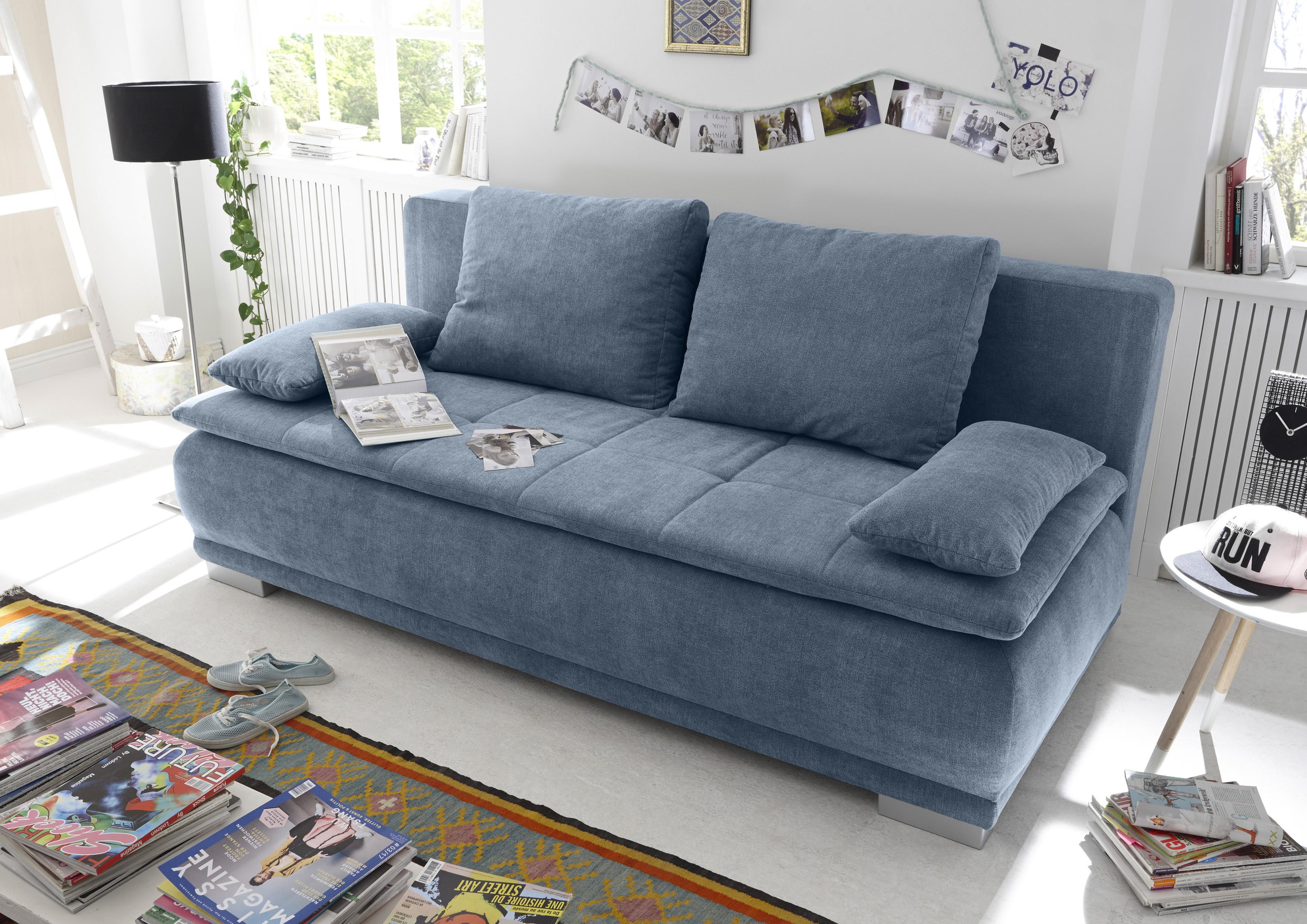 Schlafcouch Ausziehbar Schlafcouch Zweisitzer Blau Denim
