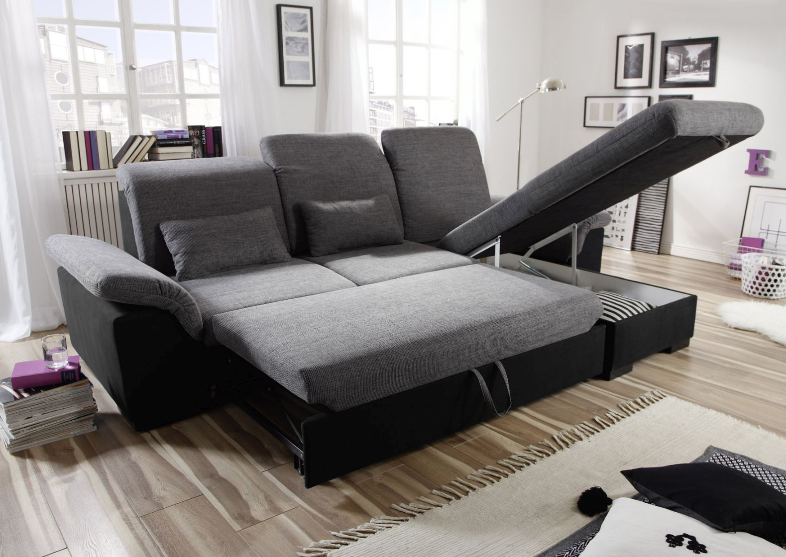 ecksofa couch schlafsofa sofabett funktionssofa ausziehbar schwarz 281 cm ebay. Black Bedroom Furniture Sets. Home Design Ideas