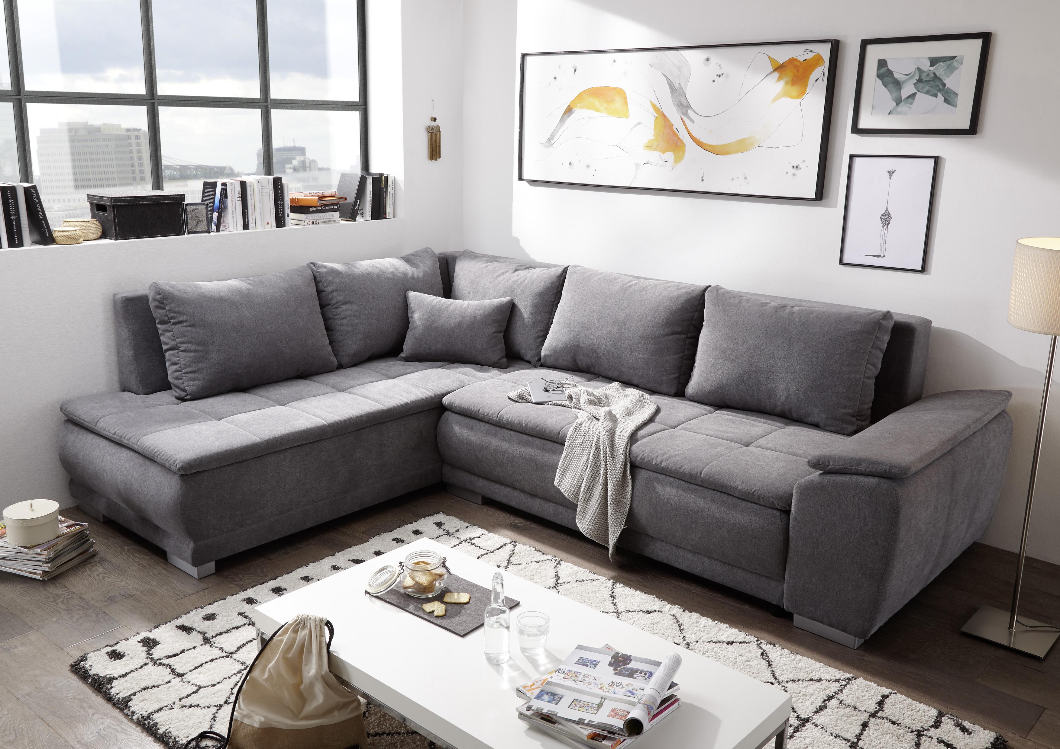 Details Zu Ecksofa Couch Malia Sofa Schlafsofa Schlafcouch Dunkel Grau L Form Universell