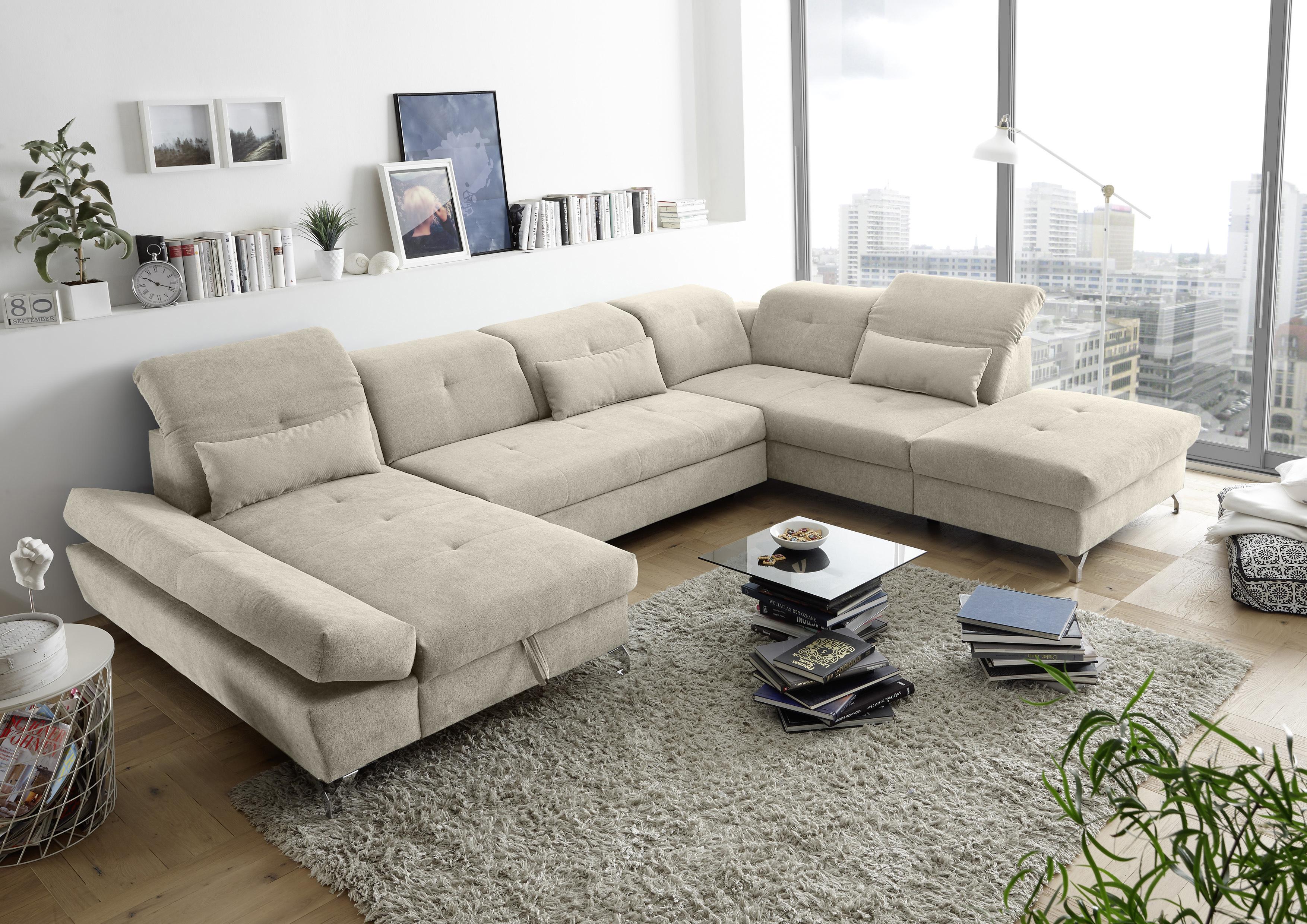 Couch Melfi R Sofa Schlafcouch Wohnlandschaft Schlaffunktion Sand
