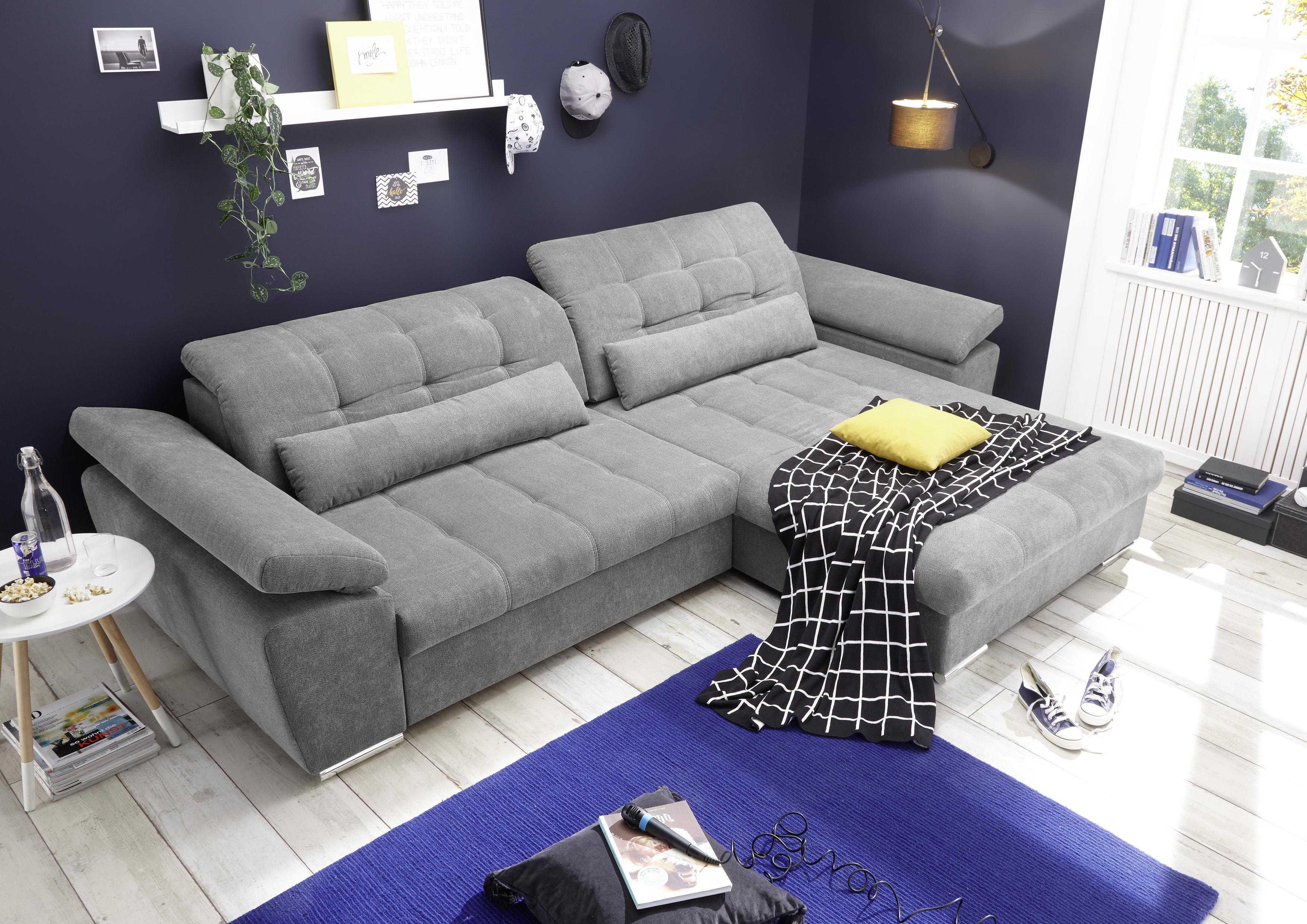 Details Zu Ecksofa Couch Casa Schlafcouch Schlafsofa Funktionssofa Ausziehbar Grau L Form