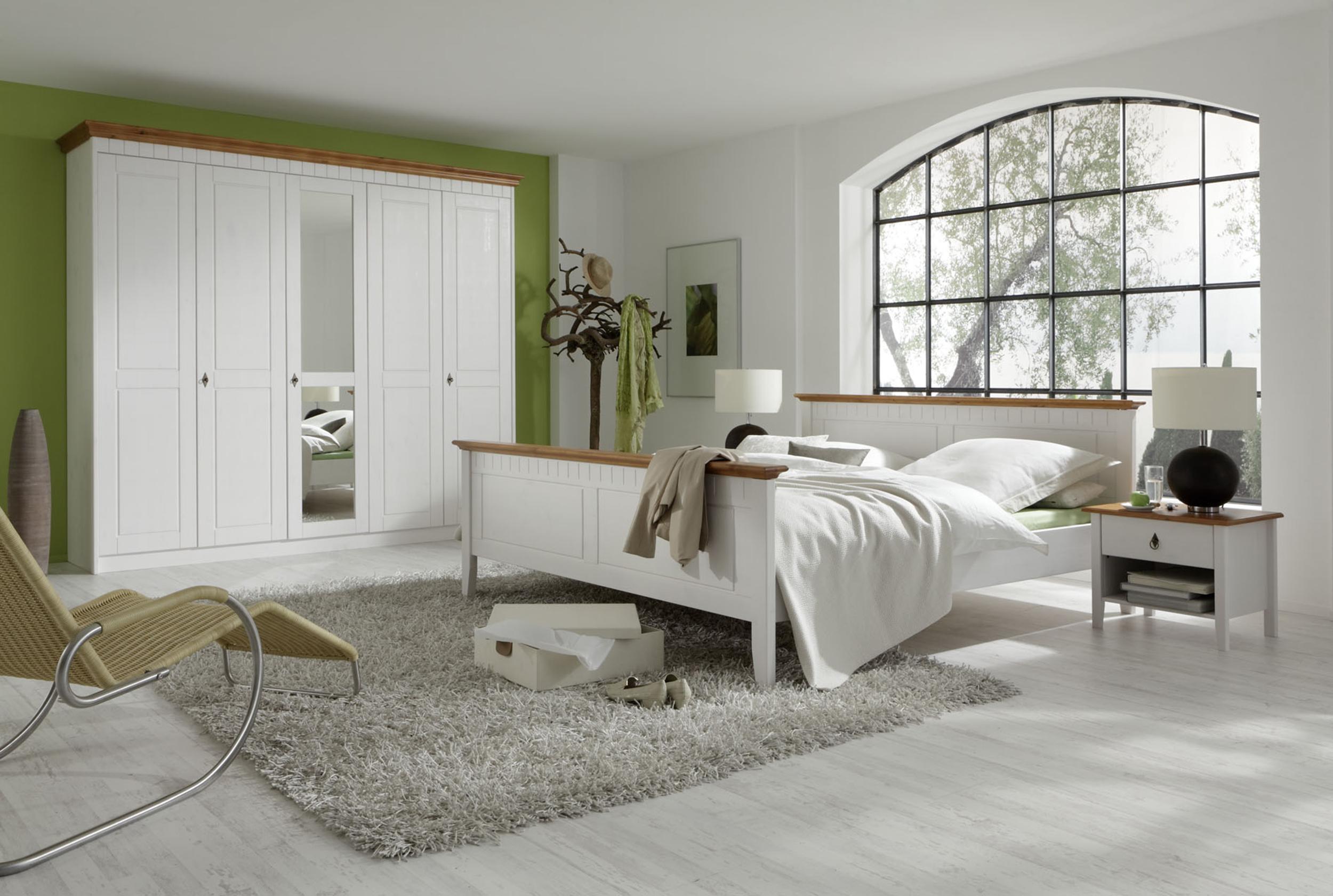 schlafzimmer komplett set hamburg doppelbett bett 180 2 nachttische kleiderschrank schrank 230cm kiefer massiv weiss