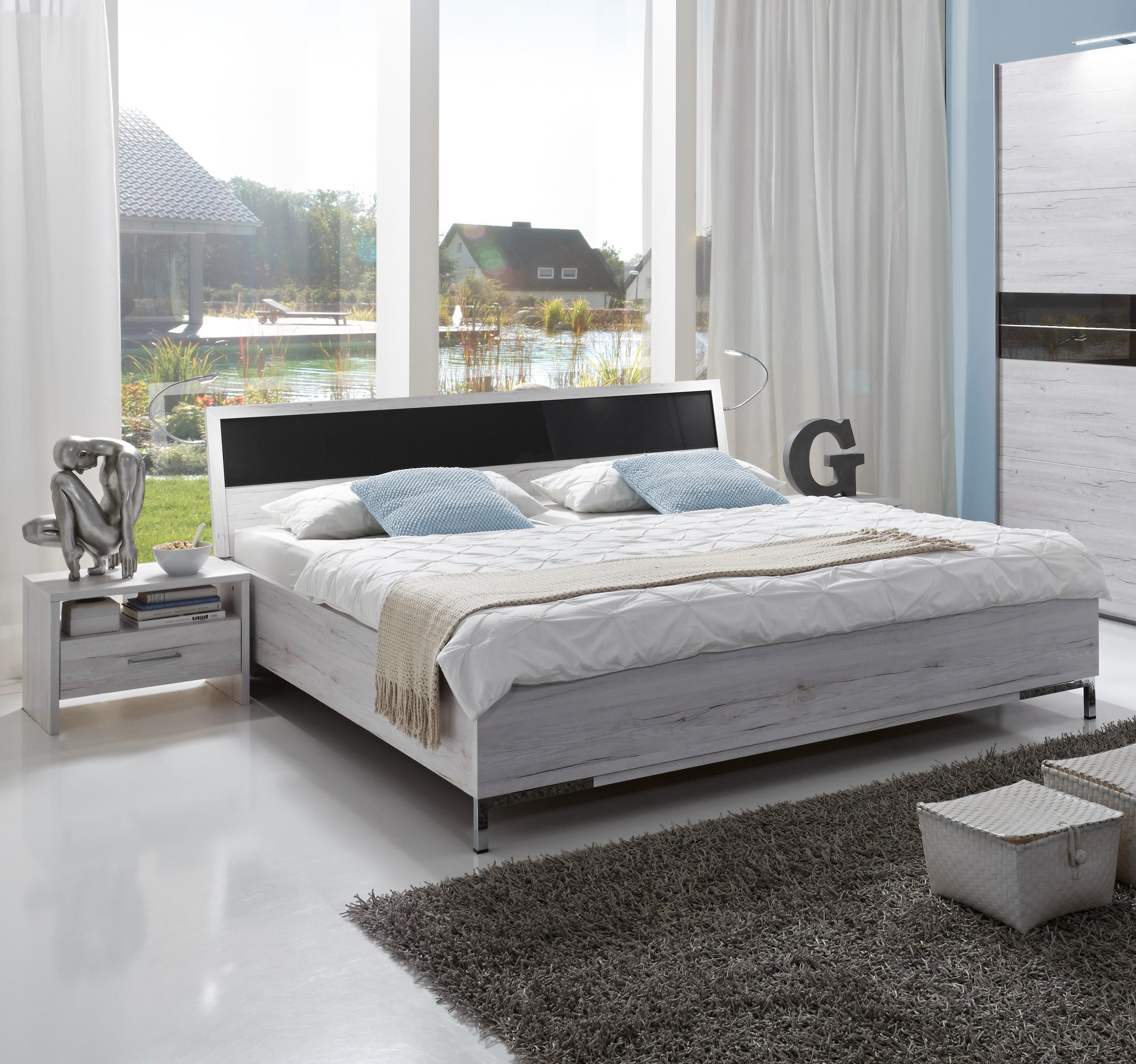 """Details zu Futonbett + 18 Nachtkommoden """"ACAPULCO"""" Bett Schlafzimmer 18 x  1800 Weißeiche"""