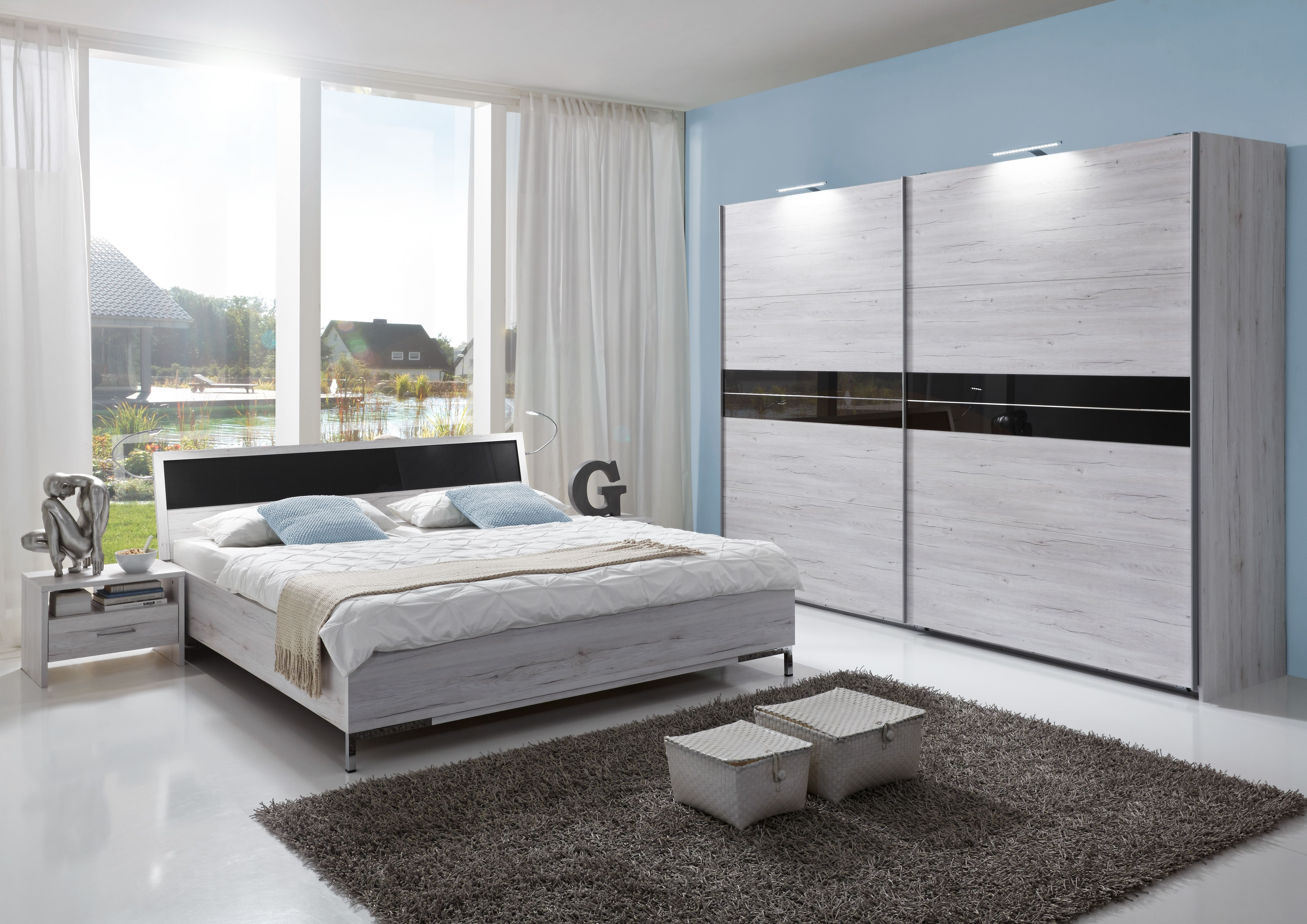 Schlafzimmer Set Komplett Acapulco Doppelbett Nako Kleiderschrank
