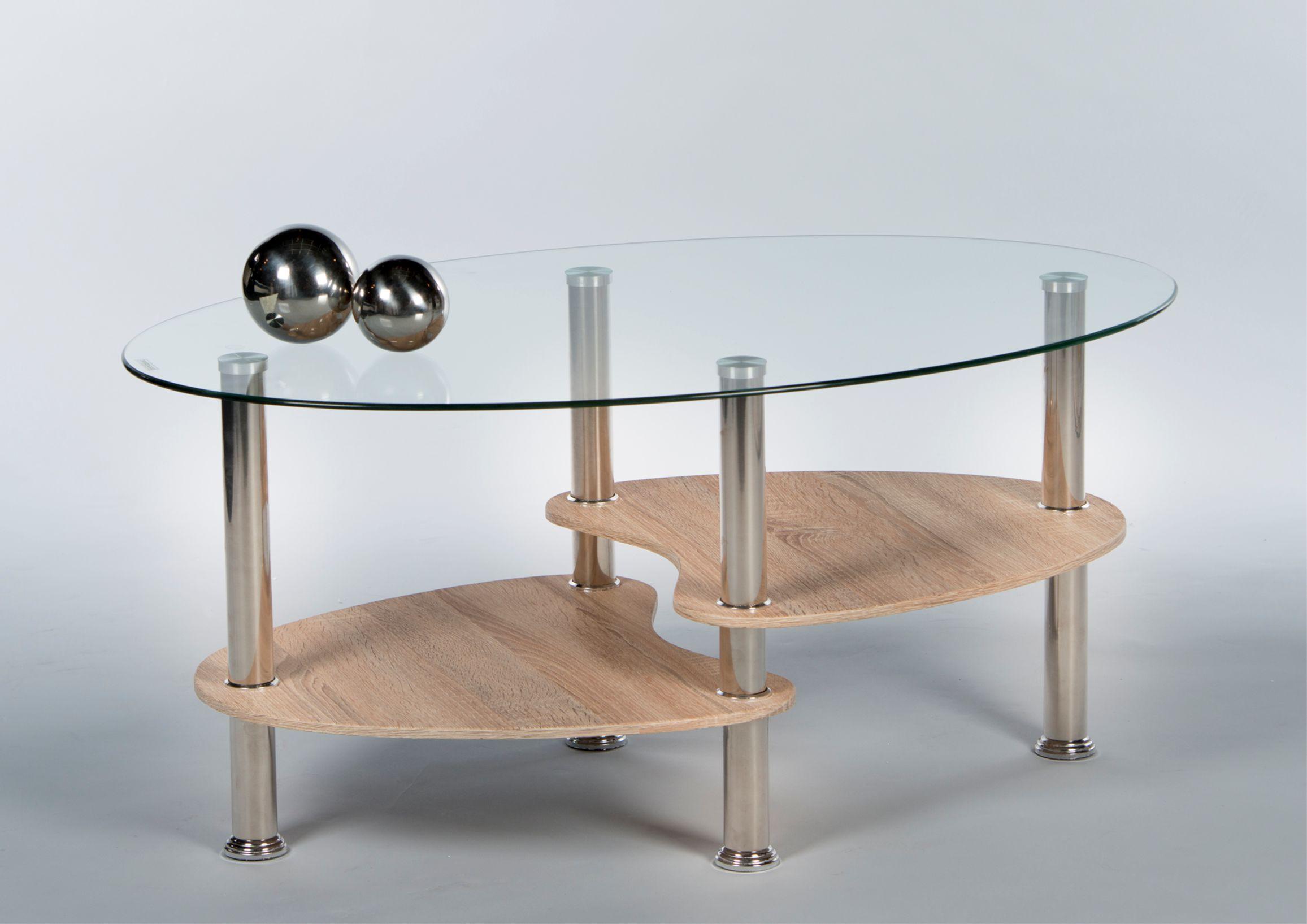 """Details zu Couchtisch """"PANTY"""" Beistelltisch Wohnzimmertisch Tisch Eiche Nb.  Glas oval 40cm"""