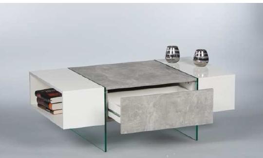 couchtisch ferrara wohnzimmertisch beistelltisch tisch in beton optik abs weiss ebay. Black Bedroom Furniture Sets. Home Design Ideas