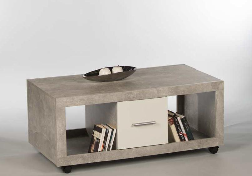 Details zu Couchtisch STONE Wohnzimmertisch Beistelltisch Tisch in Beton  Optik Abs. Weiss