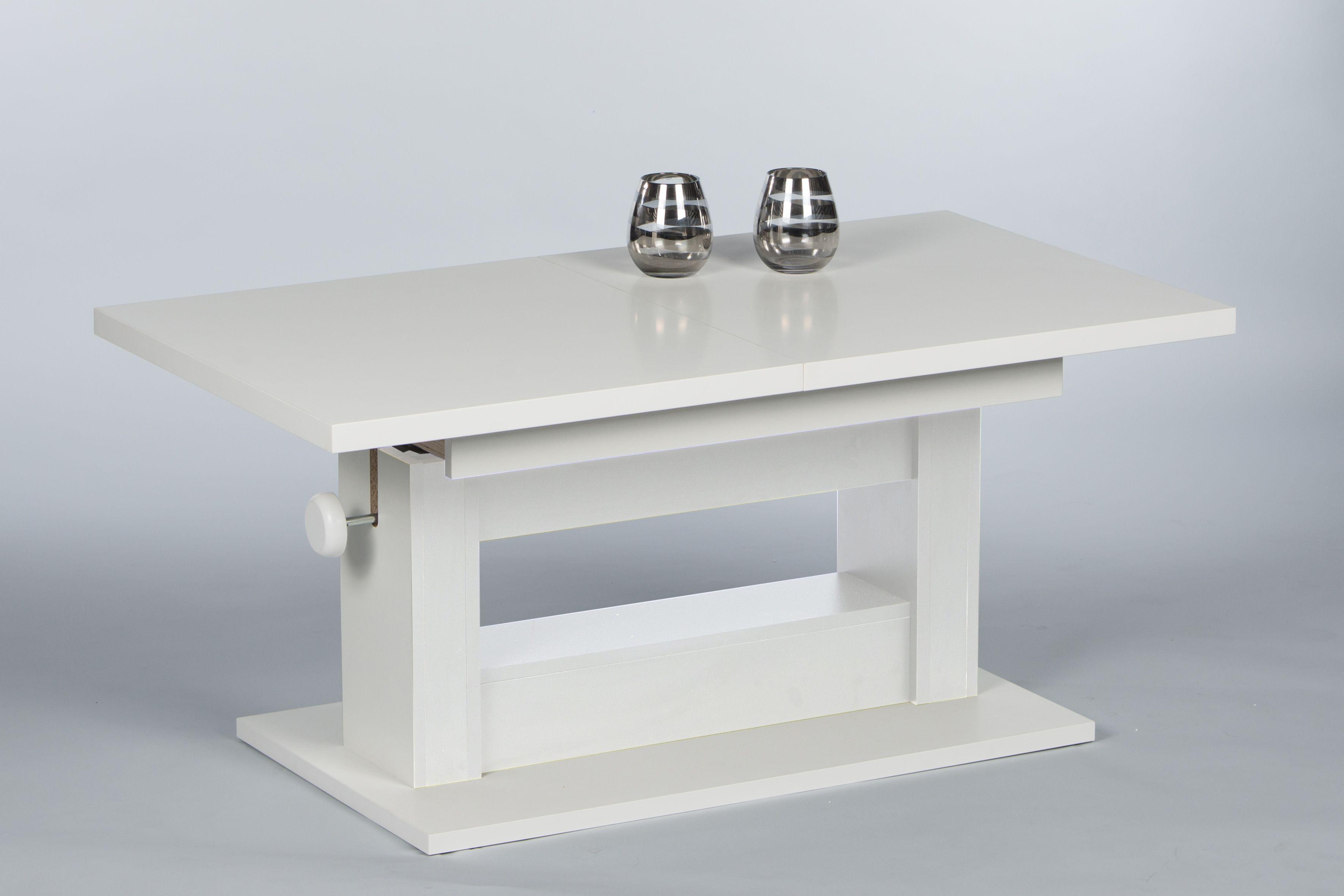 couchtisch wohnzimmertisch beistelltisch tisch h henverstellbar ausziehbar weiss ebay. Black Bedroom Furniture Sets. Home Design Ideas