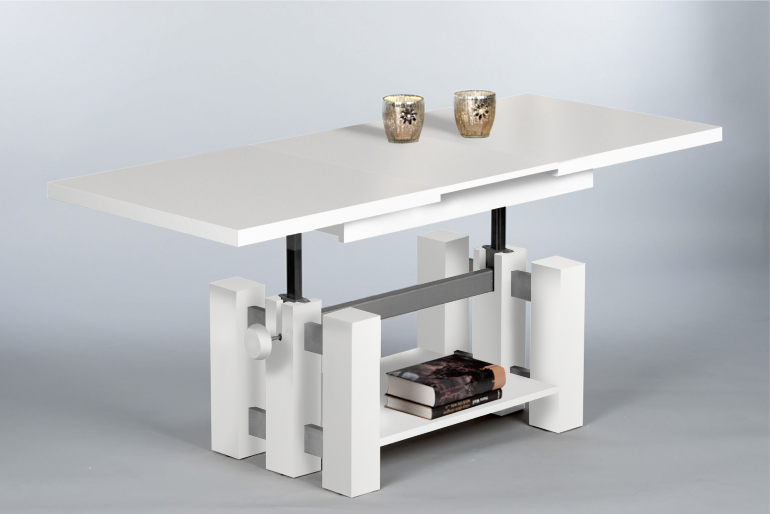 couchtisch nina wohnzimmertisch beistelltisch tisch h henverstellbar in weiss ebay. Black Bedroom Furniture Sets. Home Design Ideas