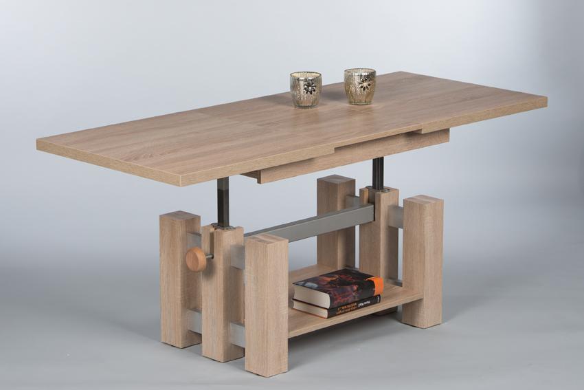 couchtisch nina wohnzimmertisch beistelltisch tisch h henverstellbar in sonoma ebay. Black Bedroom Furniture Sets. Home Design Ideas
