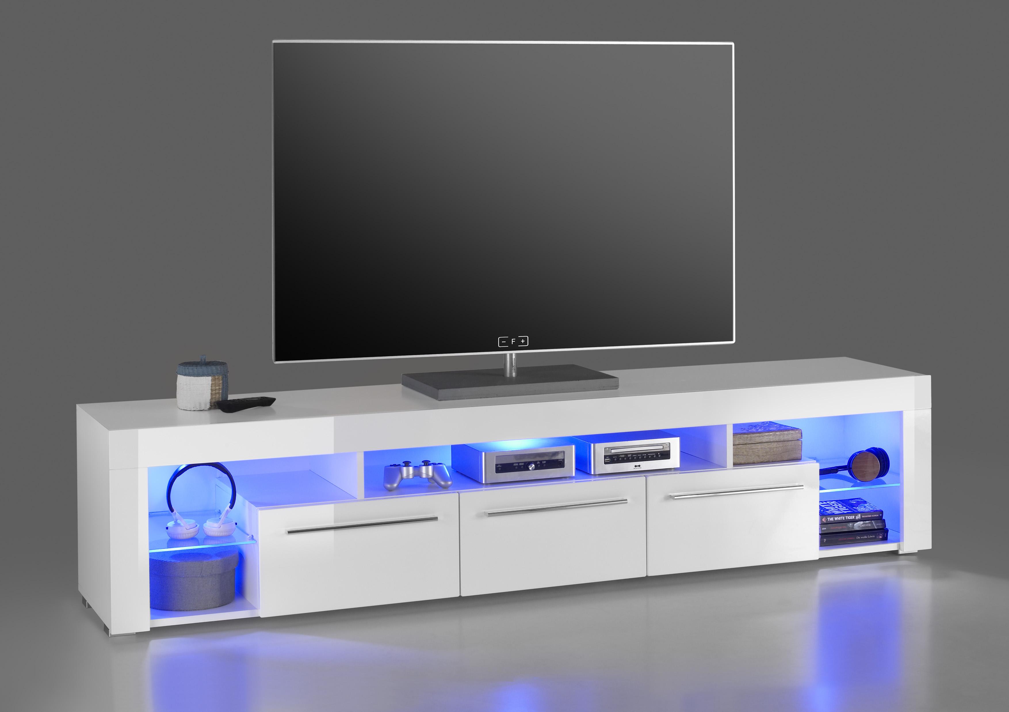 Tv Lowboard Goal2 Tv Rack Fernsehtisch Tv Tisch Weiß Glanz