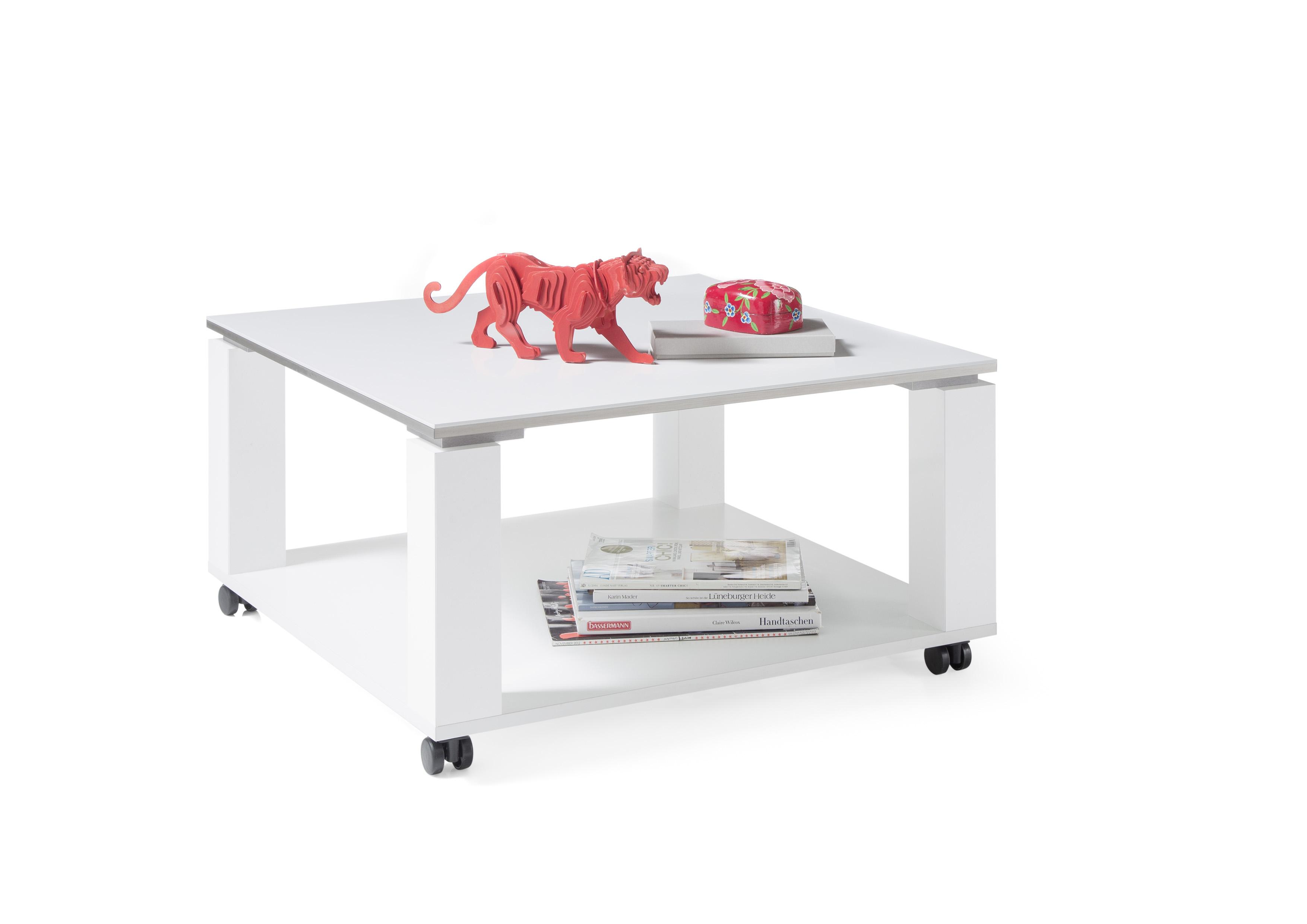 Details zu Couchtisch ROMY Rollen Beistelltisch Wohnzimmertisch Tisch weiß  quadratisch 76cm