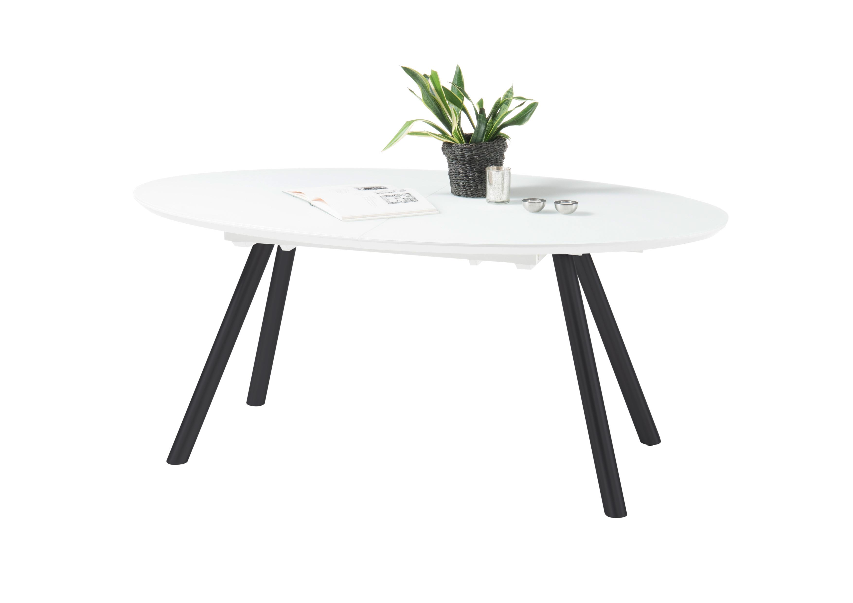 Details zu Esstisch JEAN Esszimmertisch Dinnertisch Küchentisch Tisch  ausziehbar weiß oval