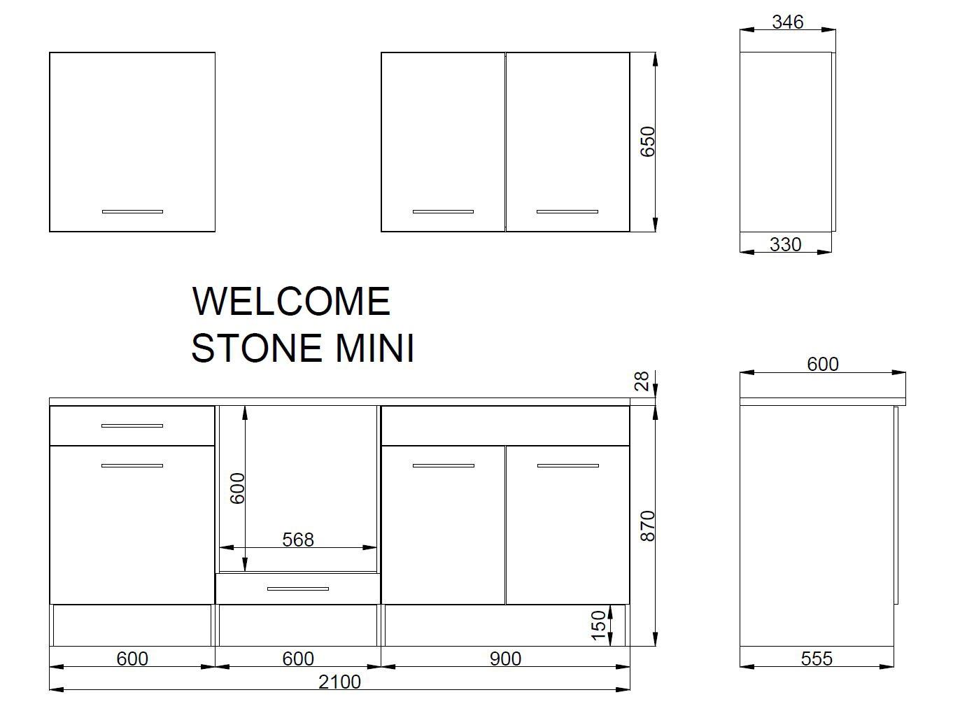 k che k chenblock k chenzeile komplettk che 210cm minik che wei grau ebay. Black Bedroom Furniture Sets. Home Design Ideas