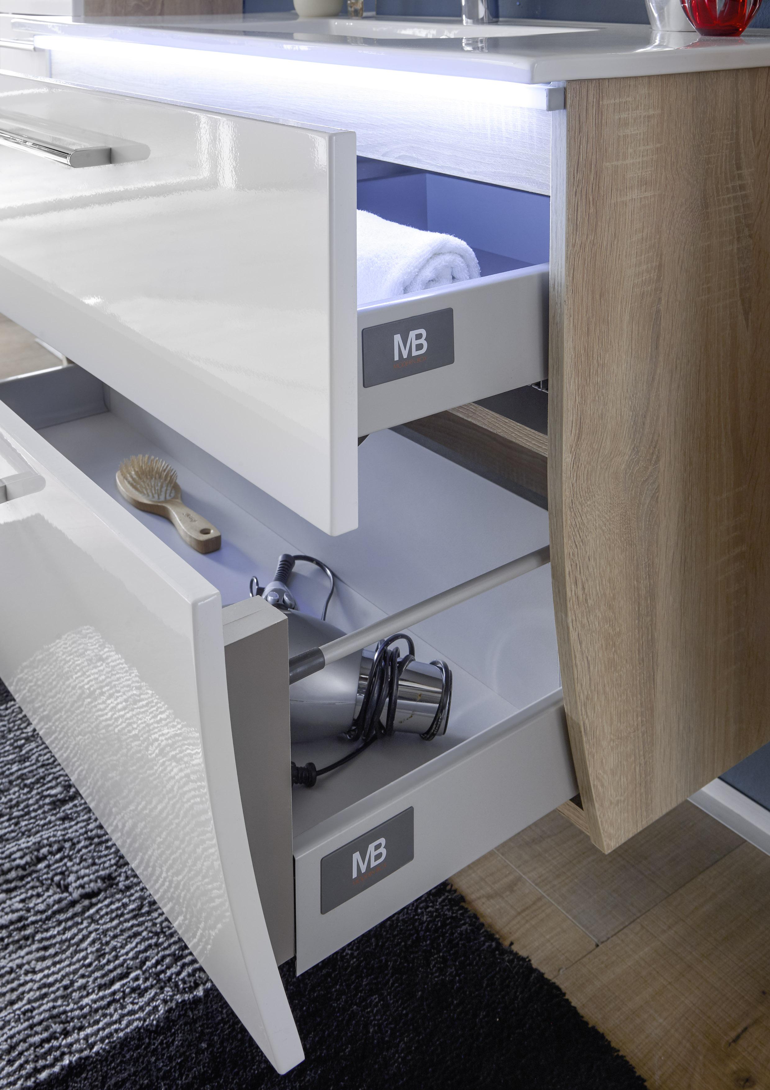 Details zu Badezimmer-Komplett-Set MIAMI Badezimmer Badmöbel  Badezimmermöbel in Sonom/Weiß