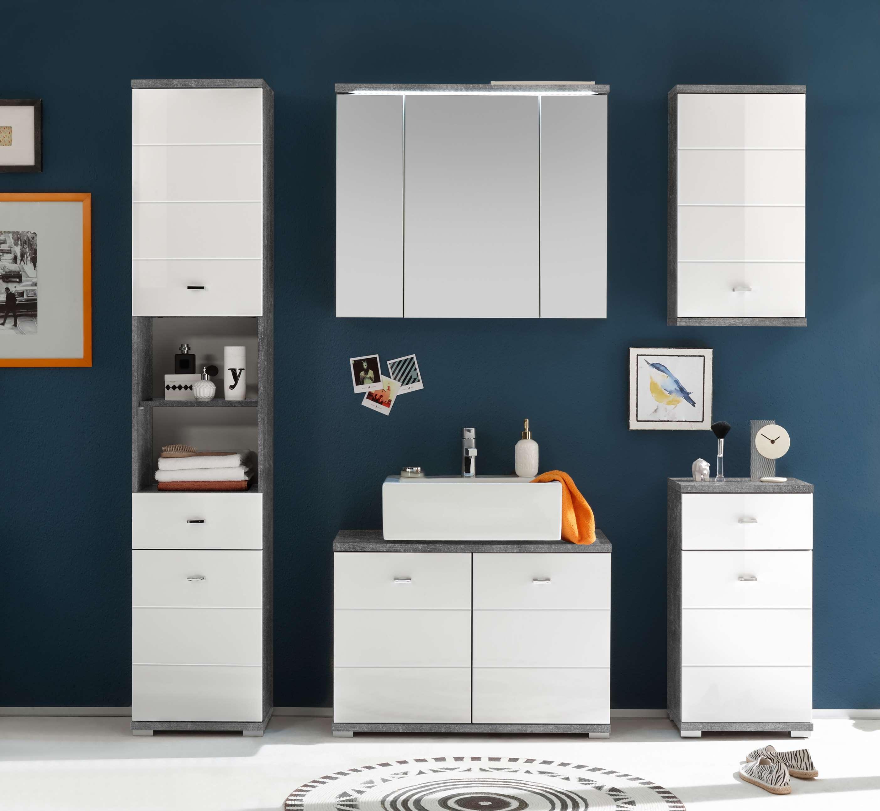badm bel pool 5 tlg badezimmer set wei beton mit beleuchtung ebay. Black Bedroom Furniture Sets. Home Design Ideas