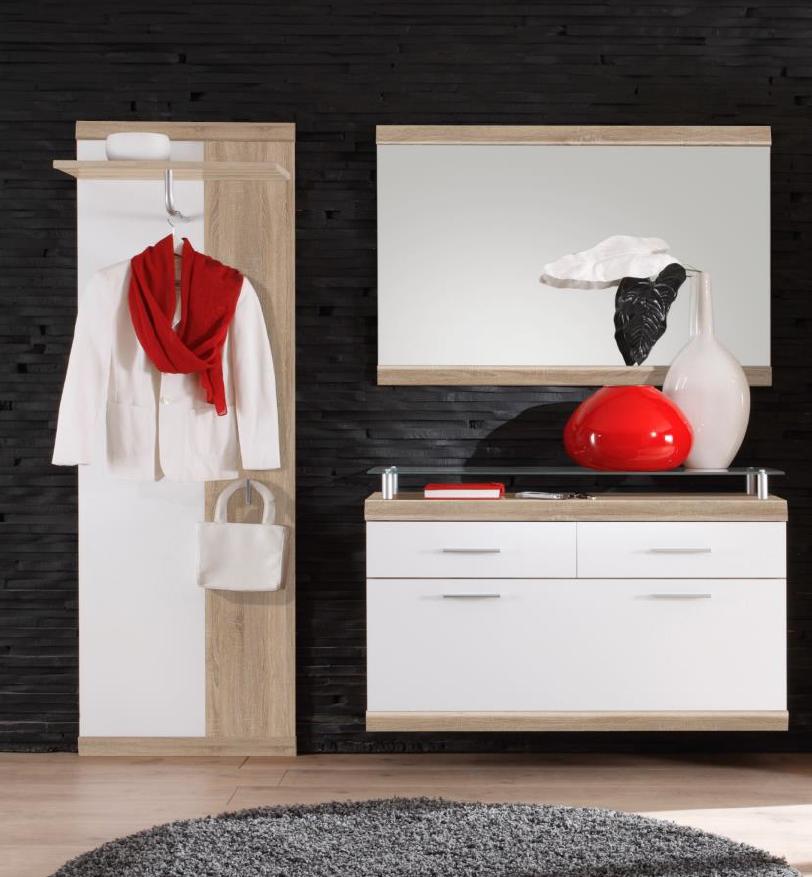 Garderobe imperial 3 tlg paneel spiegel schuhkommode in for Schuhkommode mit spiegel