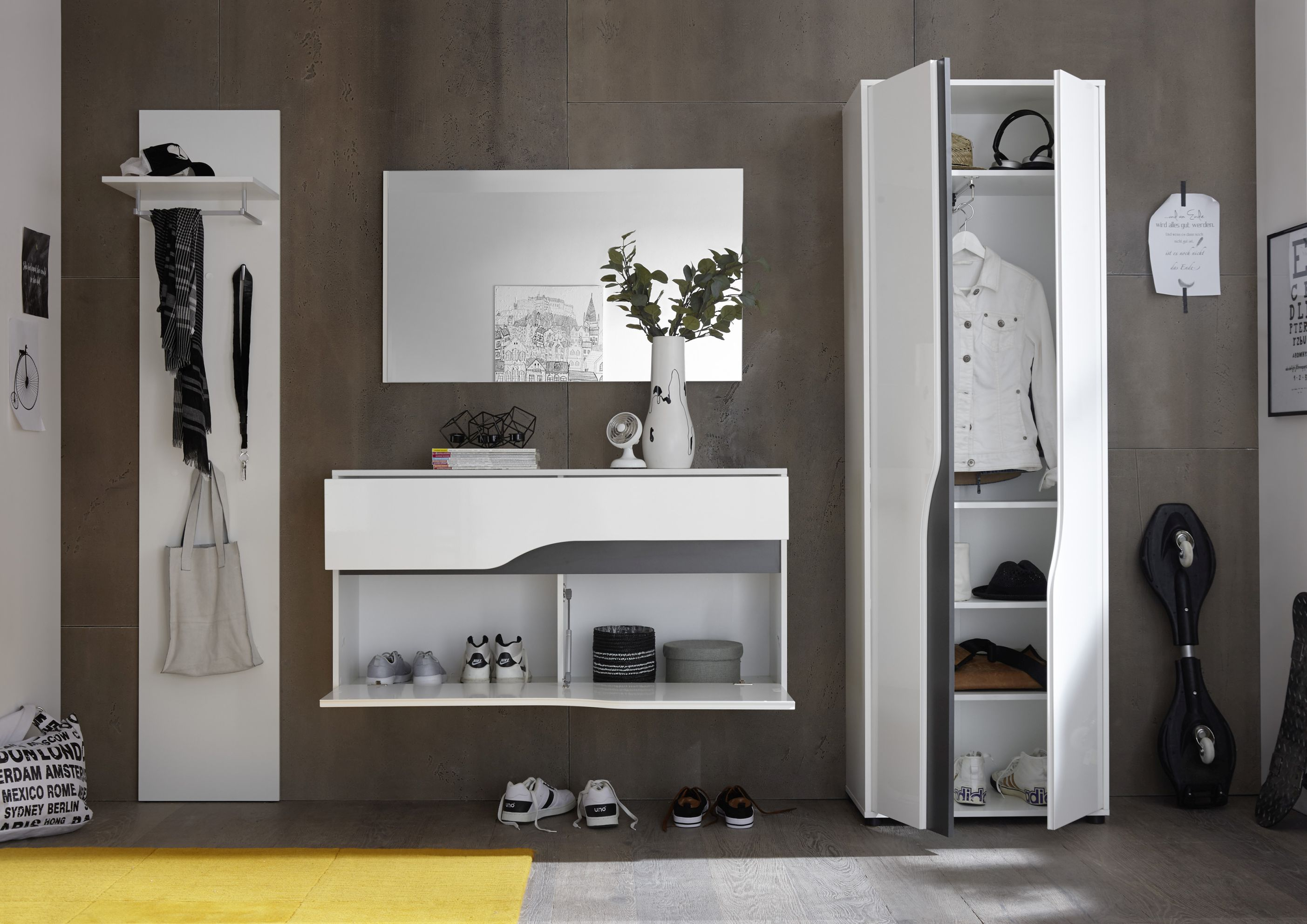 garderobe 4 tlg paneel schuhkommode spiegel hochschrank wei hochglanz 265cm ebay. Black Bedroom Furniture Sets. Home Design Ideas
