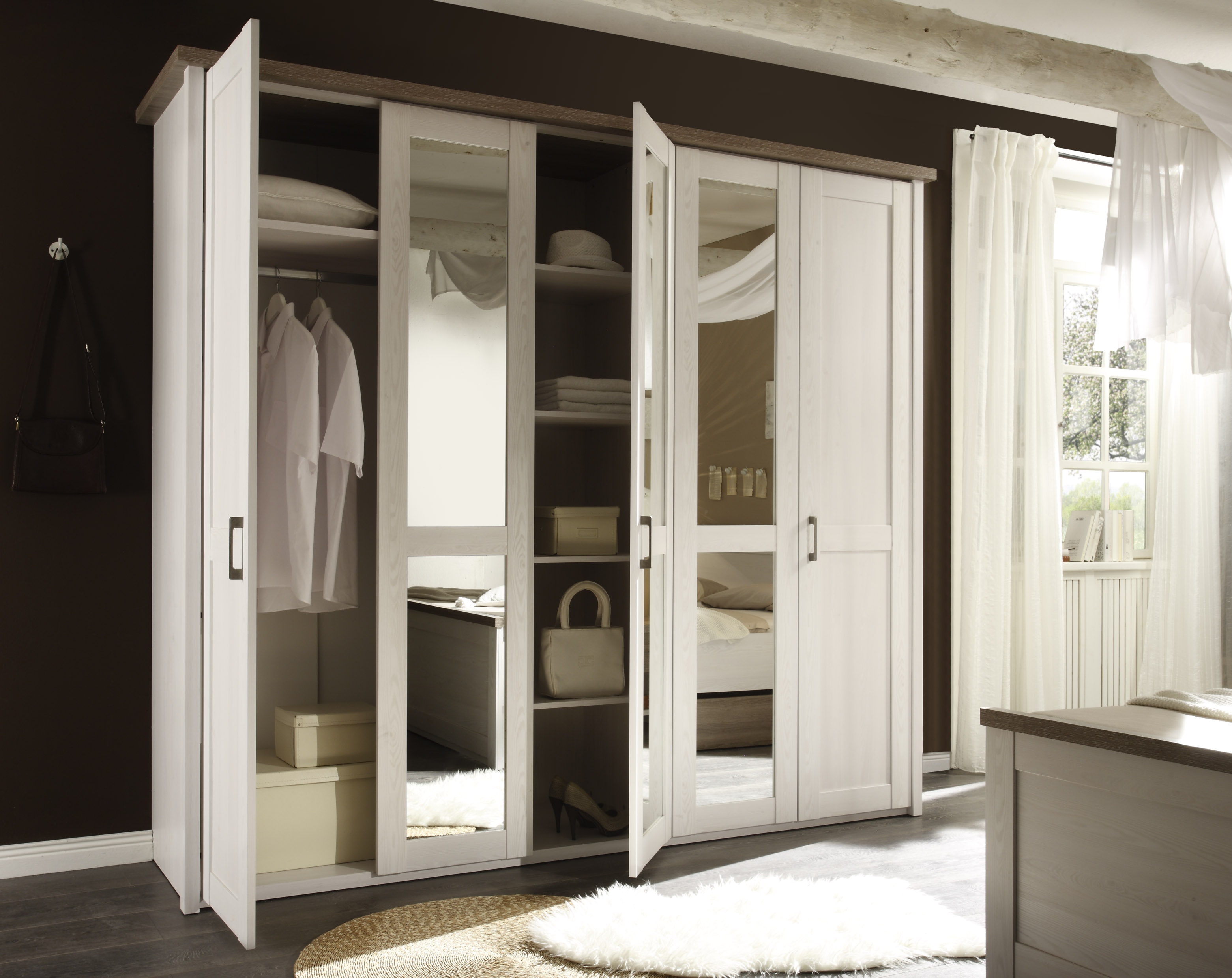 "Schlafzimmer Komplett Set 4-tlg. ""LUCA"" Bett 180 Kleiderschrank kommoden Weiß"