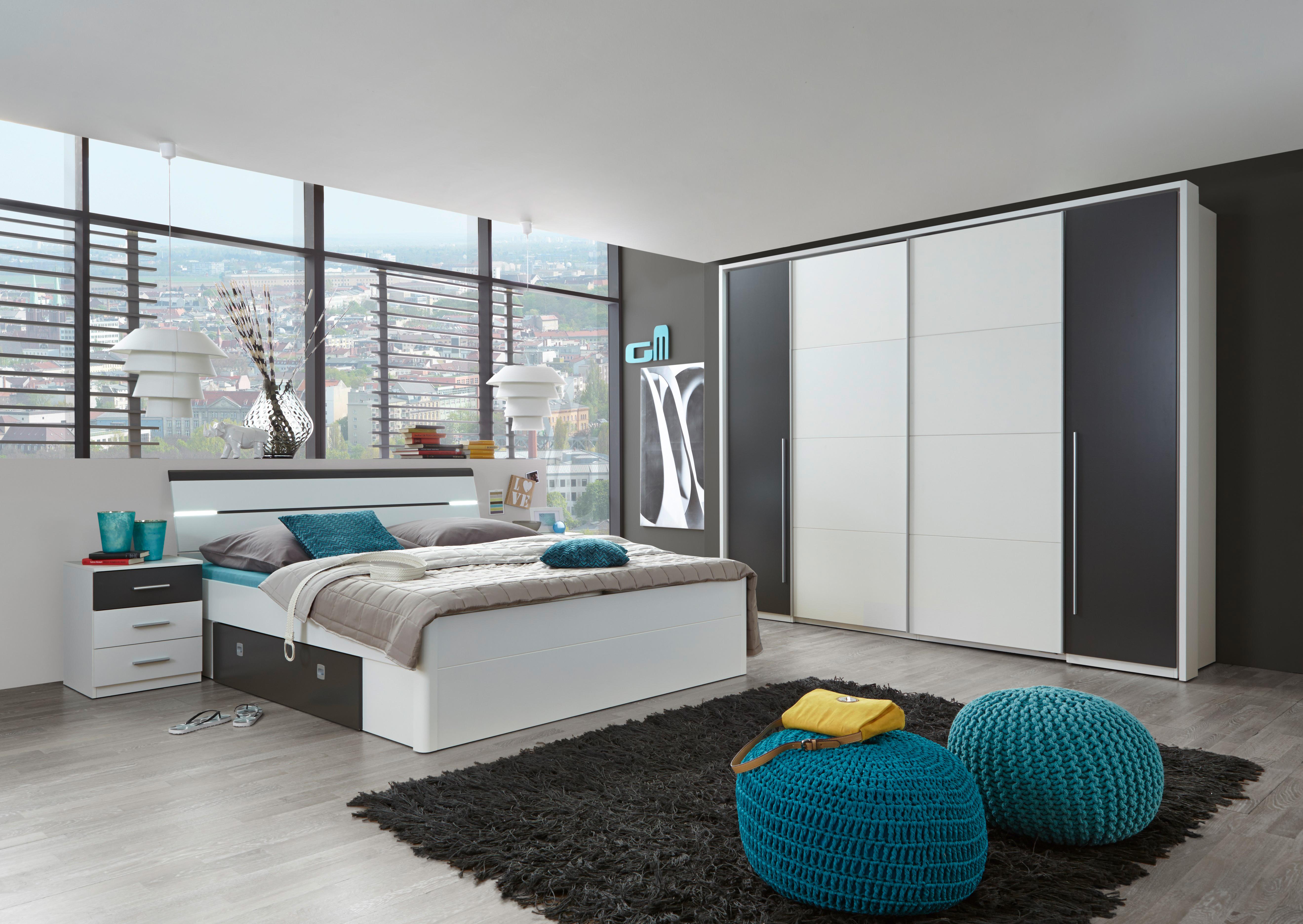 """Details zu Bettanlage Schlafzimmer komplett Set """"MARS"""" Schrank  Kleiderschrank Bett"""