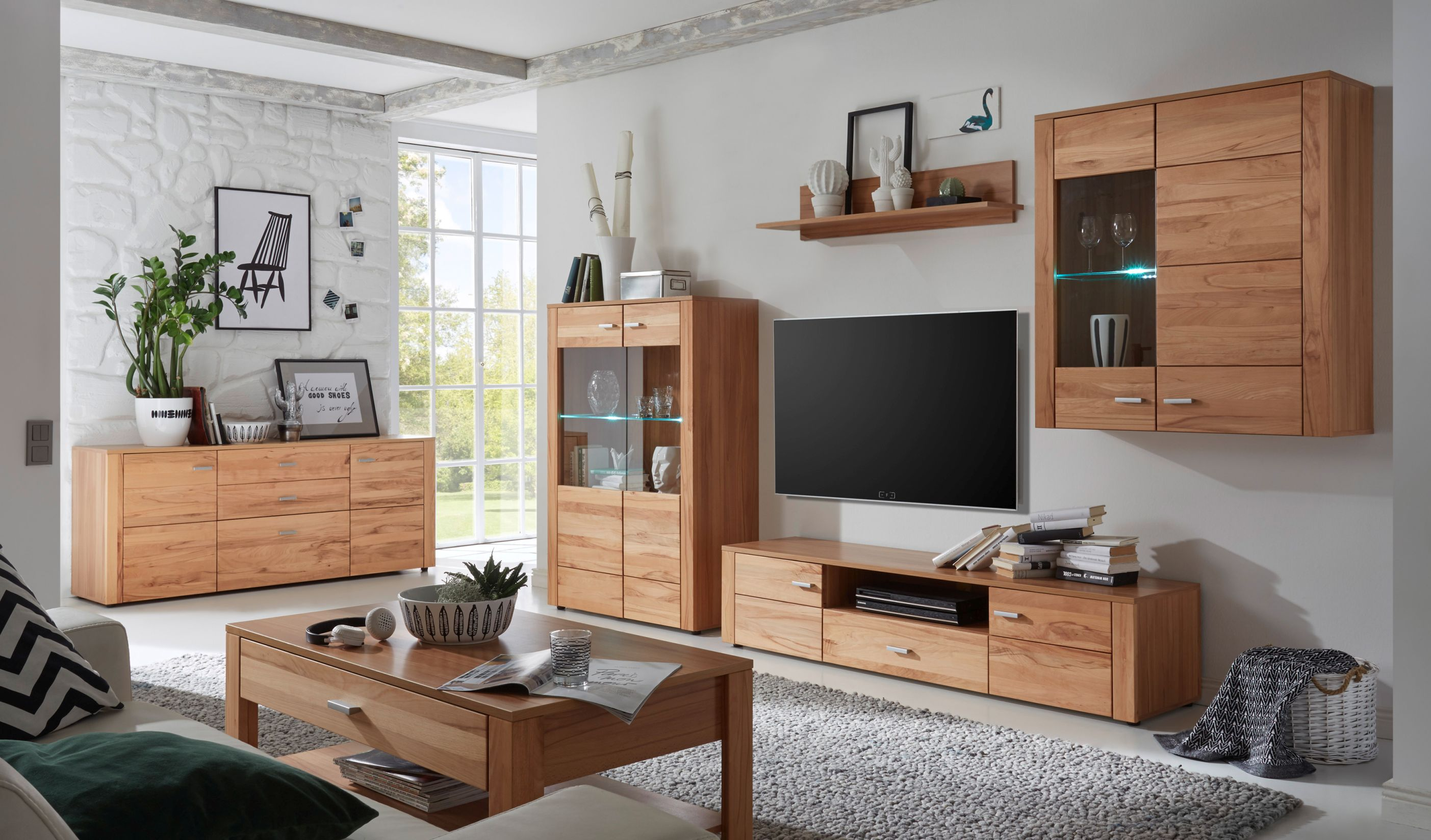 wohnwand wohnzimmer set donau 5 tlg h ngevitrine. Black Bedroom Furniture Sets. Home Design Ideas