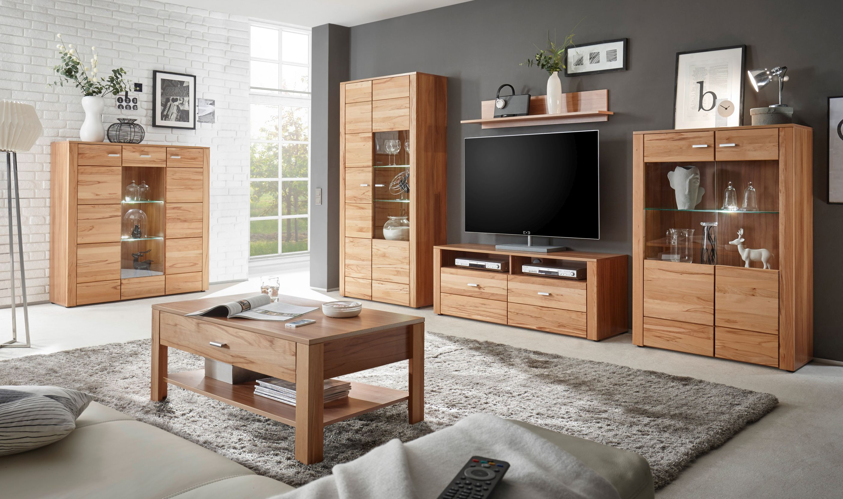 wohnwand wohnzimmer set donau 5 tlg stauraumelement. Black Bedroom Furniture Sets. Home Design Ideas