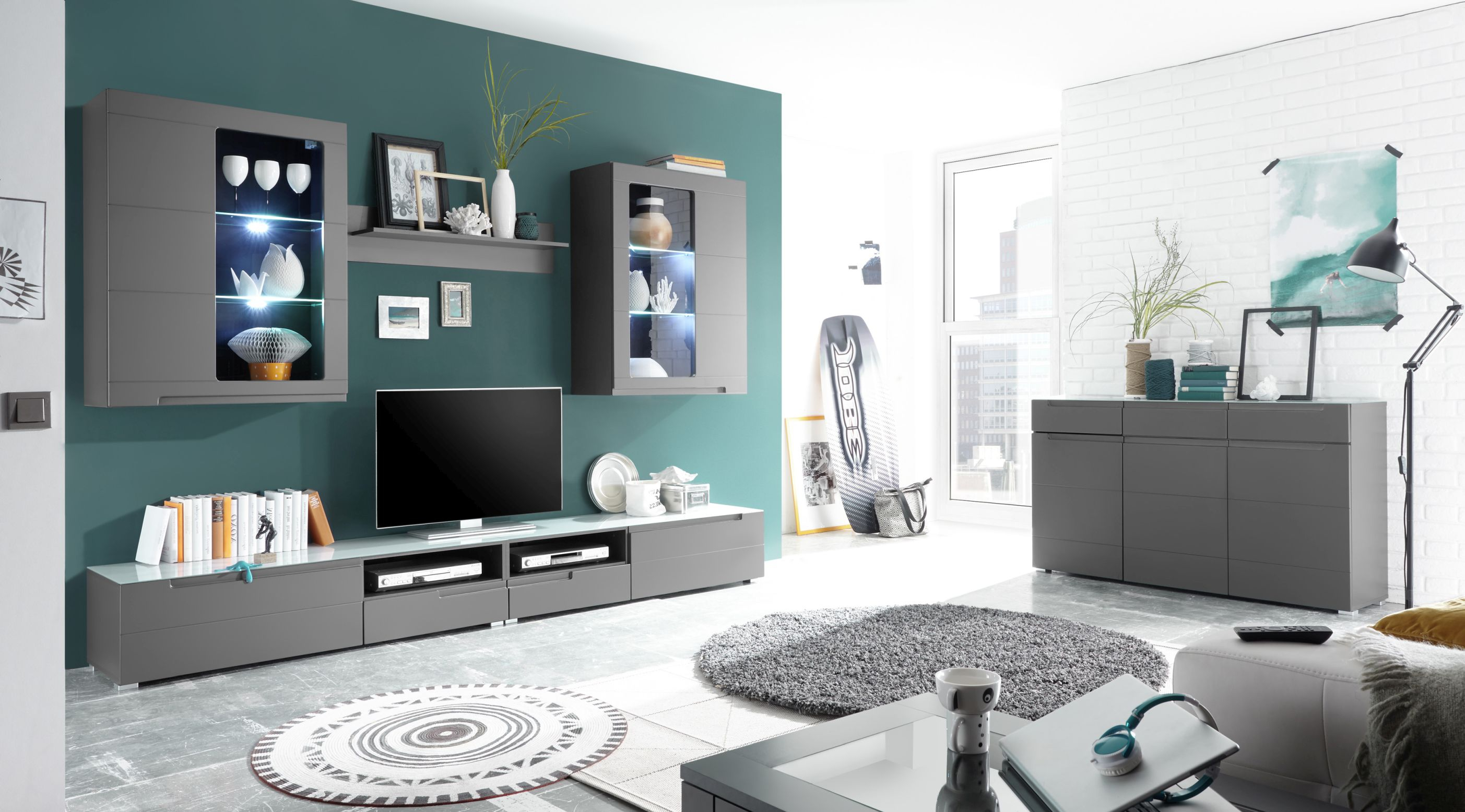 wohnwand wohnzimmer set 6 tlg grau matt sideboard satinierte glasplatte ebay. Black Bedroom Furniture Sets. Home Design Ideas