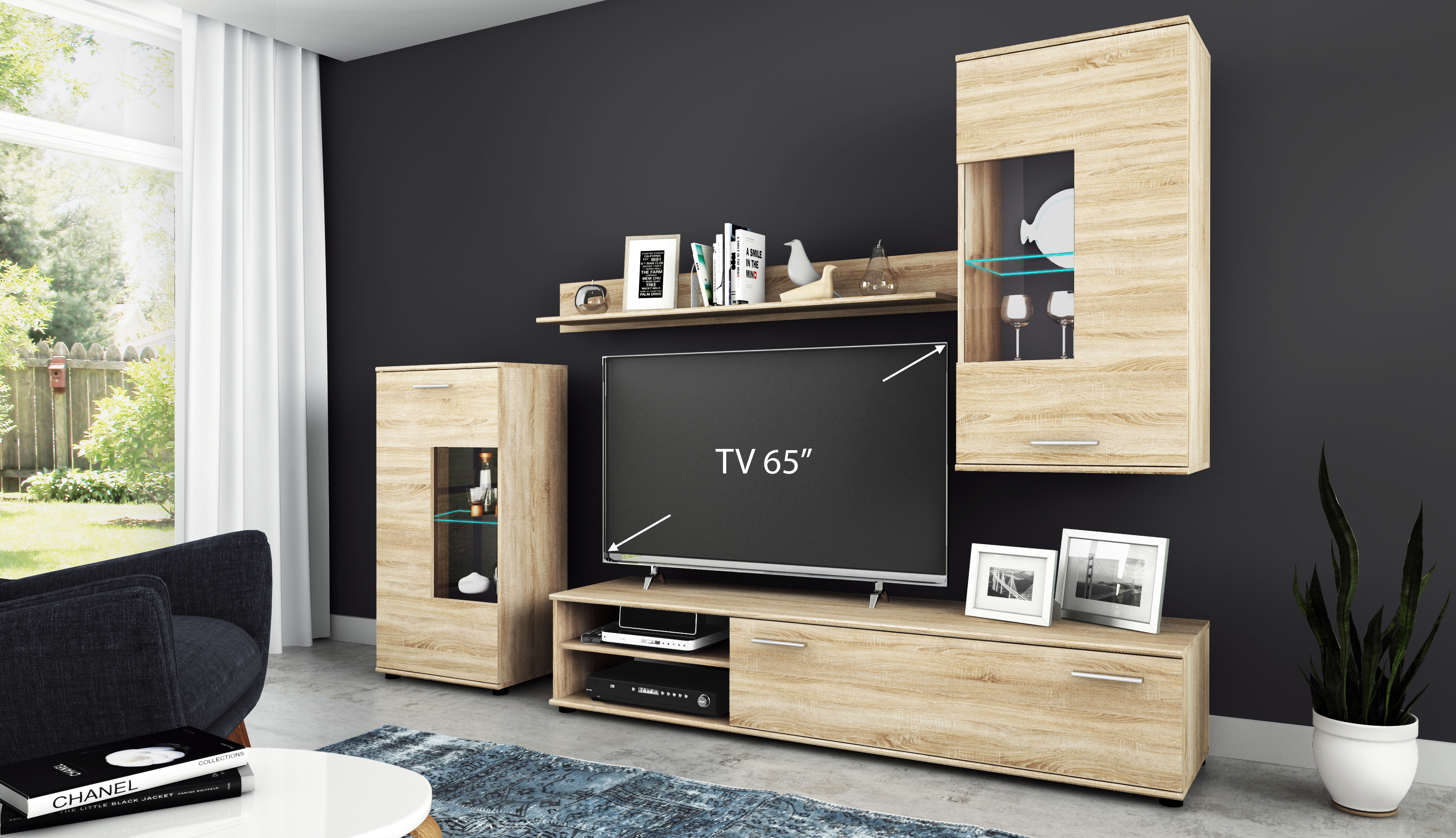 wohnwand anbauwand tv wand wohnzimmer m bel set cool 4. Black Bedroom Furniture Sets. Home Design Ideas