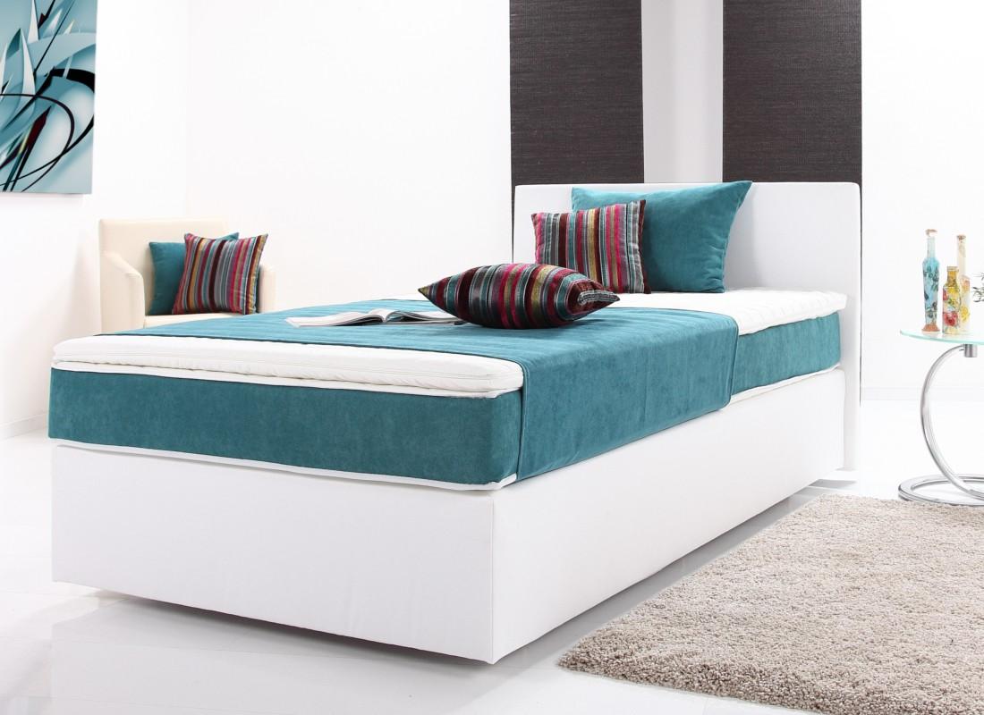Fantastisch Boxspringbett PLUTO Bett Doppelbett Polsterbett Designerbett 200 X 200 Weiß  Blau