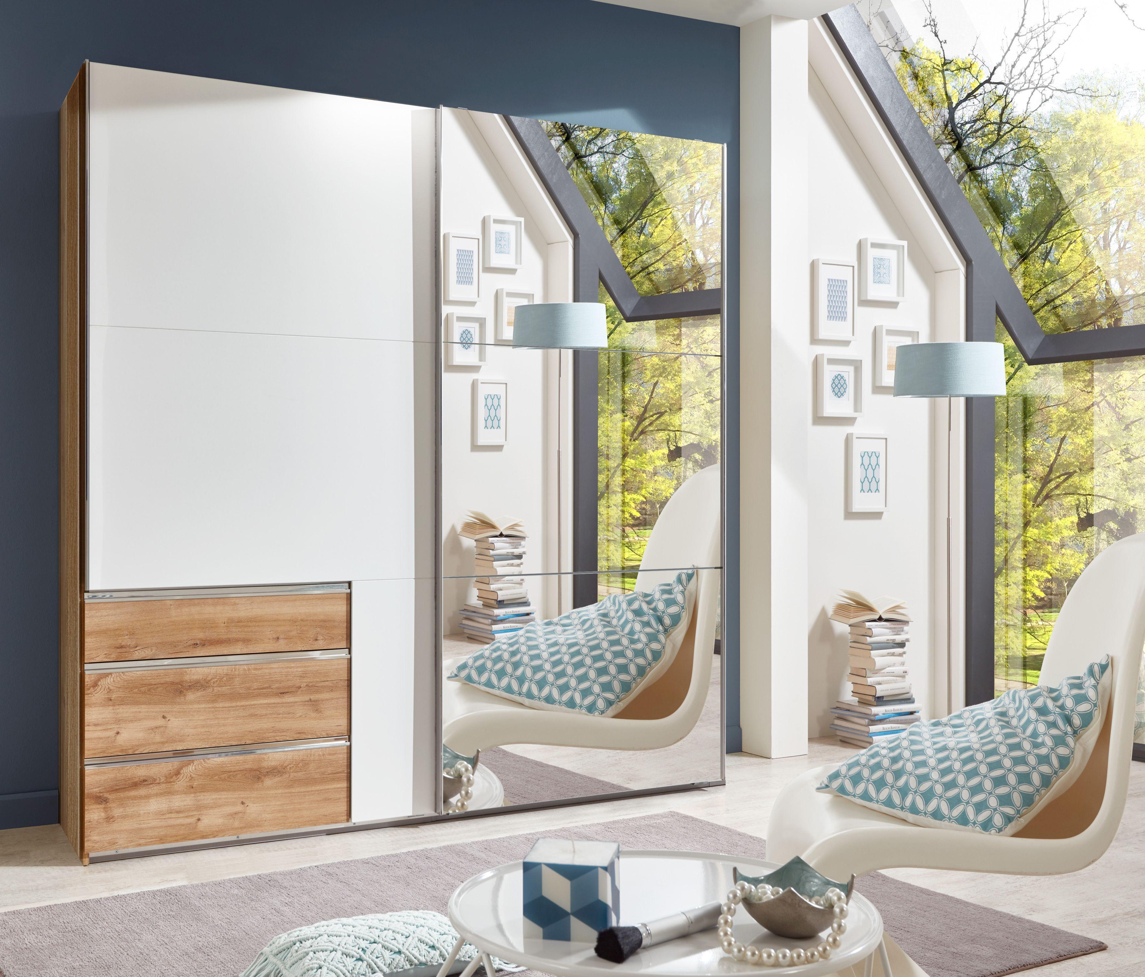 schwebet renschrank kleiderschrank schrank wei plankeneiche mit spiegel 200 cm ebay. Black Bedroom Furniture Sets. Home Design Ideas
