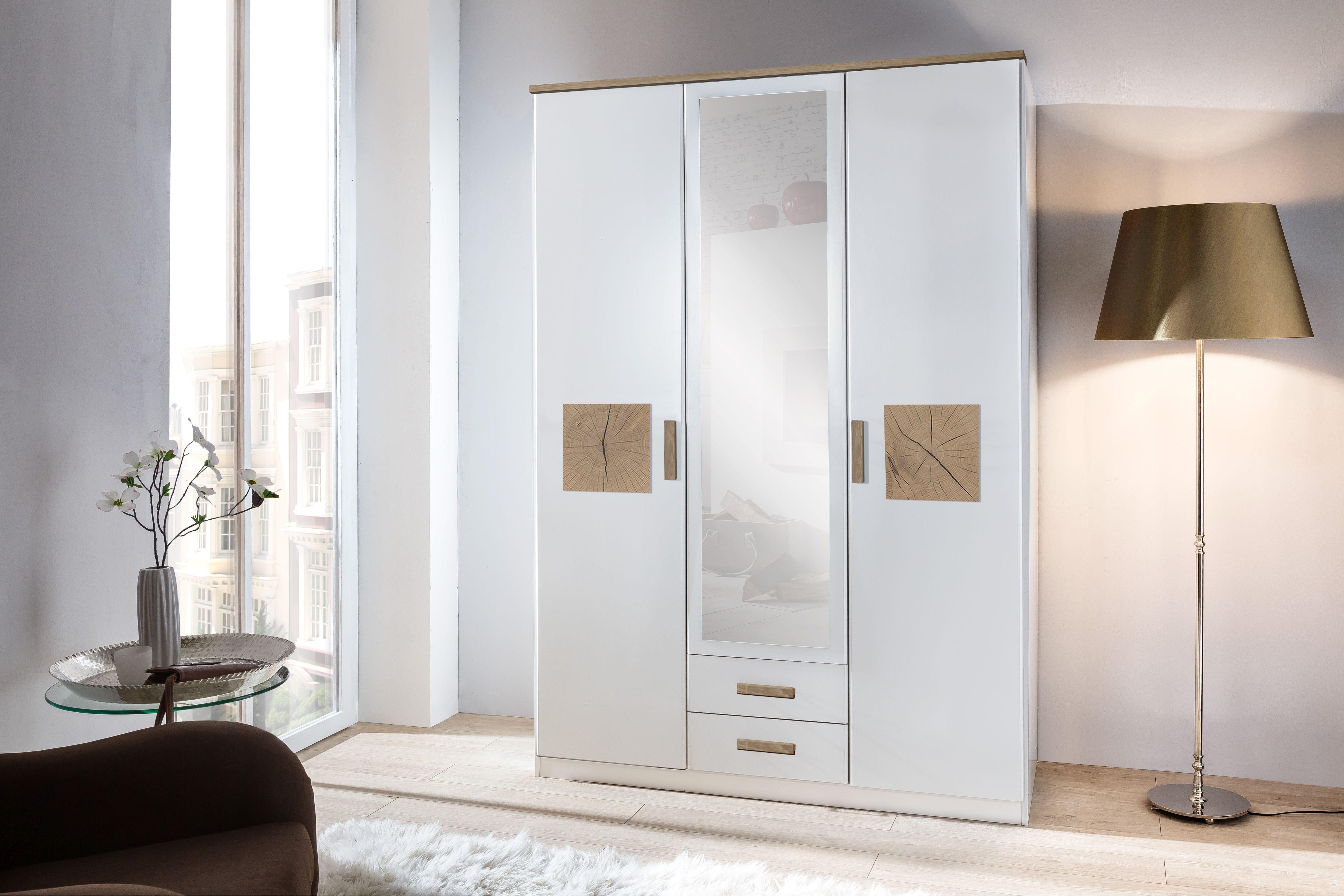 dreht renschrank kleiderschrank schrank wei mit spiegel 135 cm ebay. Black Bedroom Furniture Sets. Home Design Ideas