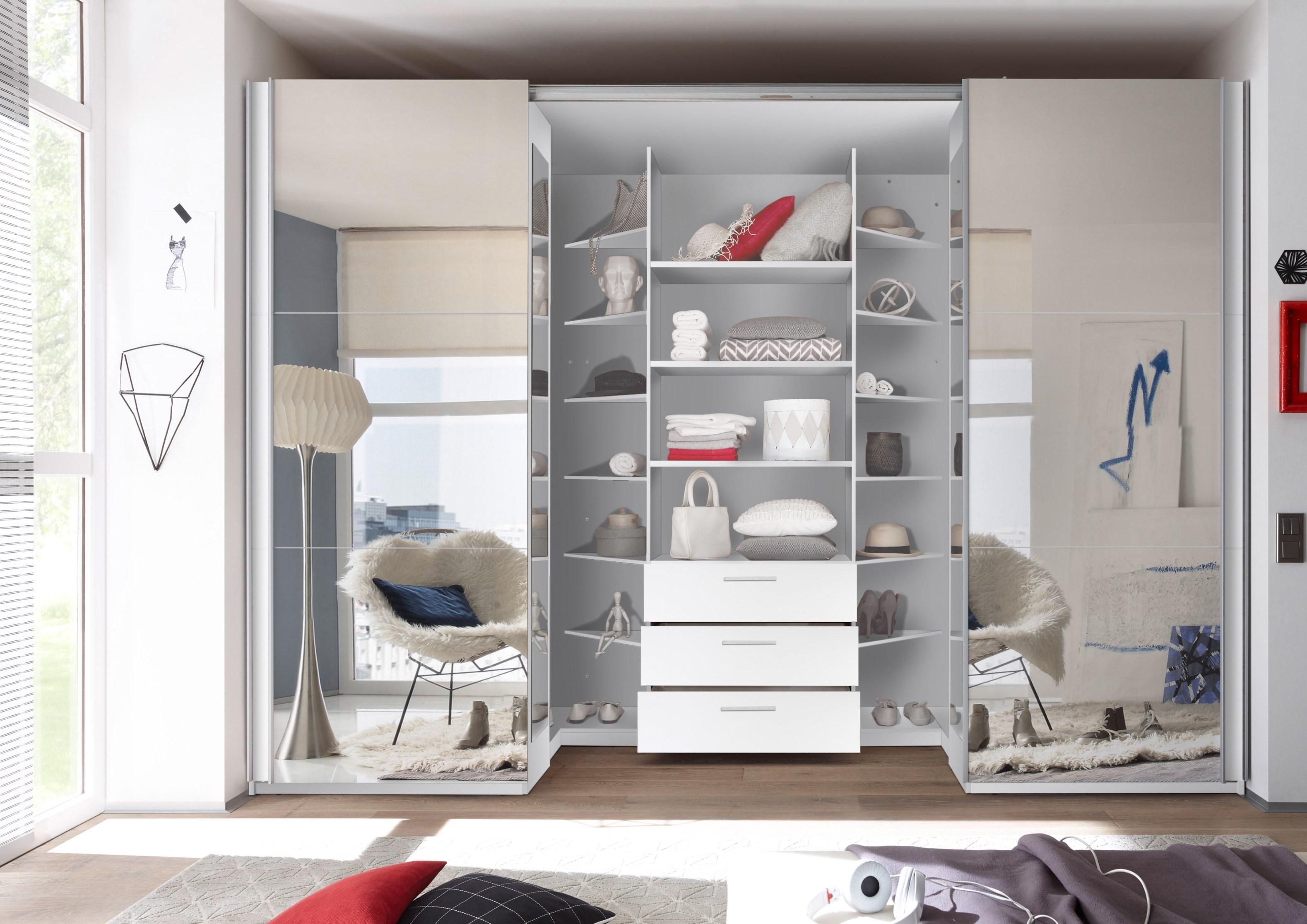 Details zu Begehbarer Kleiderschrank Schwebetürenschrank 315cm Weiß Spiegel  Dämpfung LED