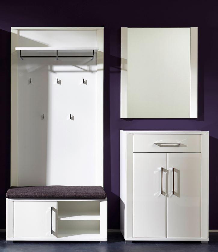garderobe go 4 tlg paneel bank schuhschrank spiegel wei. Black Bedroom Furniture Sets. Home Design Ideas