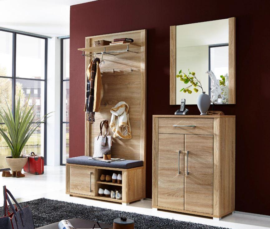 garderobe go 4 tlg paneel bank schuhschrank spiegel eiche sonoma ebay. Black Bedroom Furniture Sets. Home Design Ideas