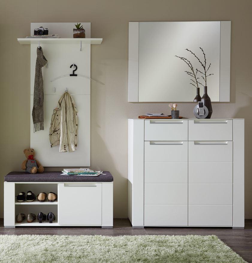Garderobe Dinaro 4 Tlg Paneel Spiegel Schuhkommode Bank Weiss Ebay