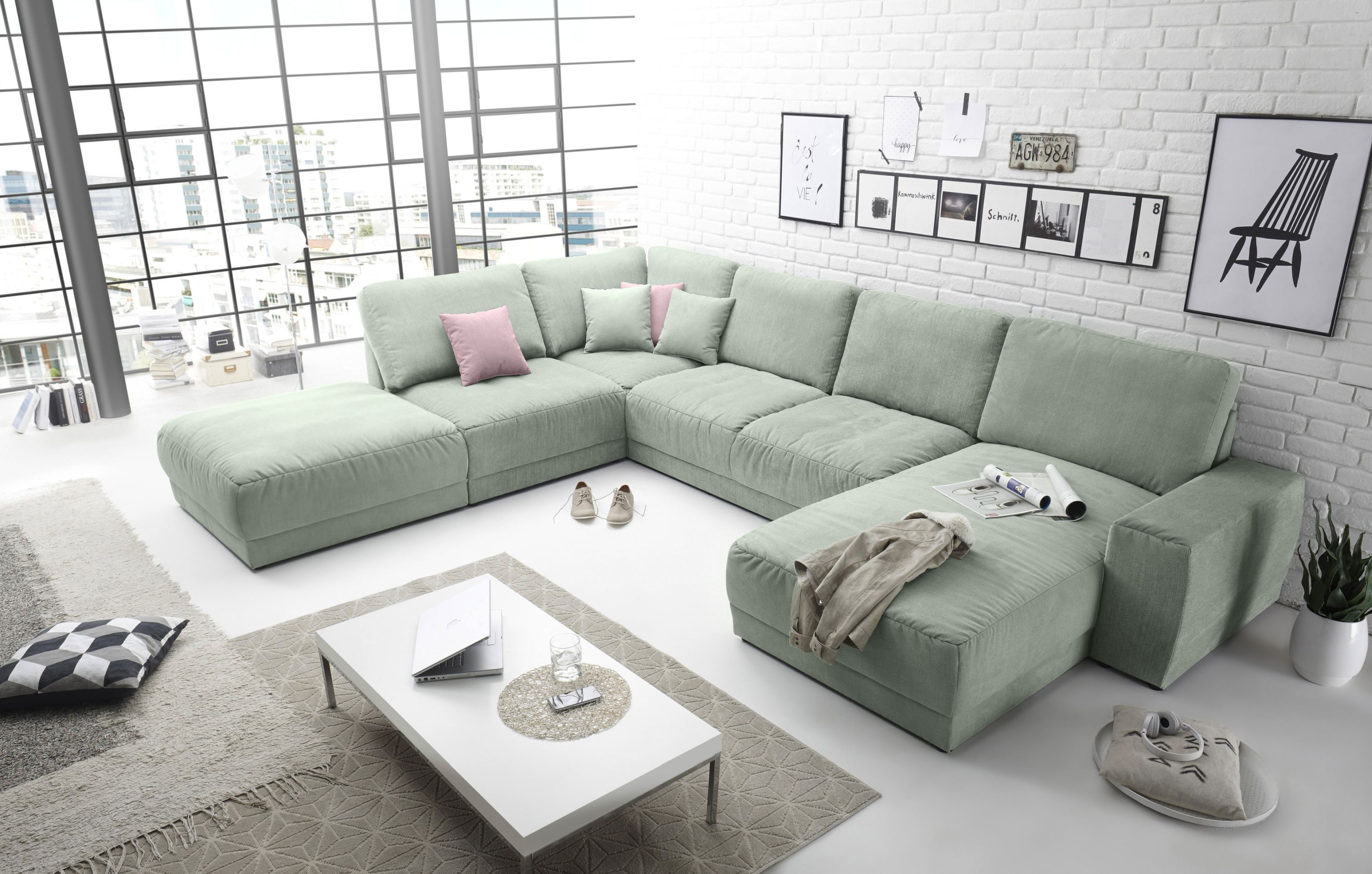 ecksofa monza 3 sofa wohnlandschaft couch u f rmig mint gr n 458 cm ebay. Black Bedroom Furniture Sets. Home Design Ideas
