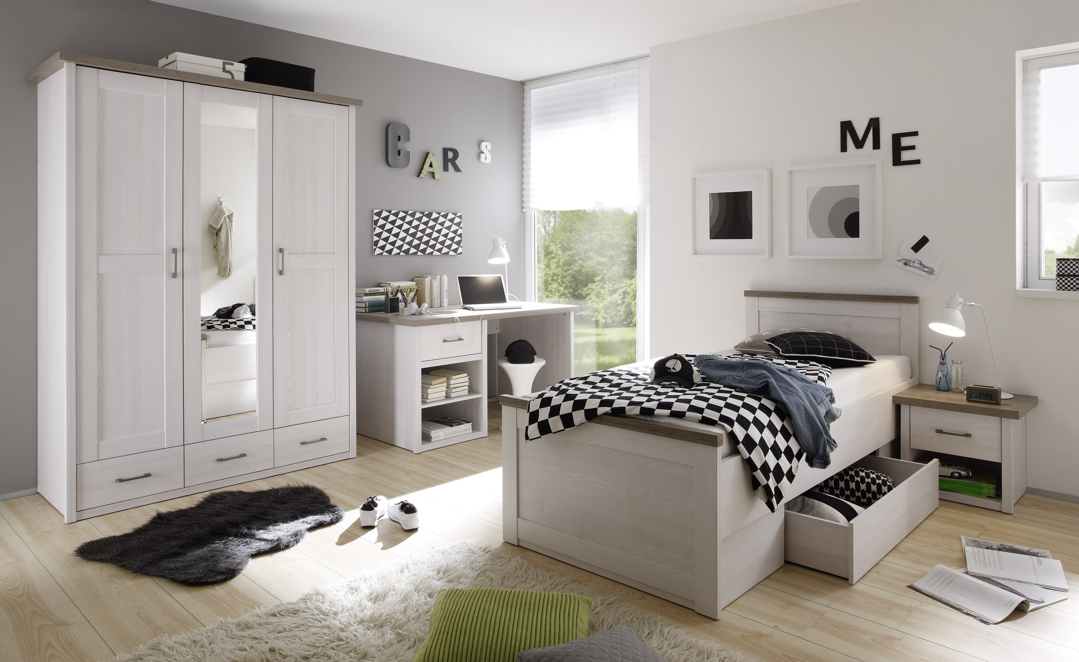 kinderzimmer set luca jugendzimmer komplett 4tlg pinie wei ebay. Black Bedroom Furniture Sets. Home Design Ideas