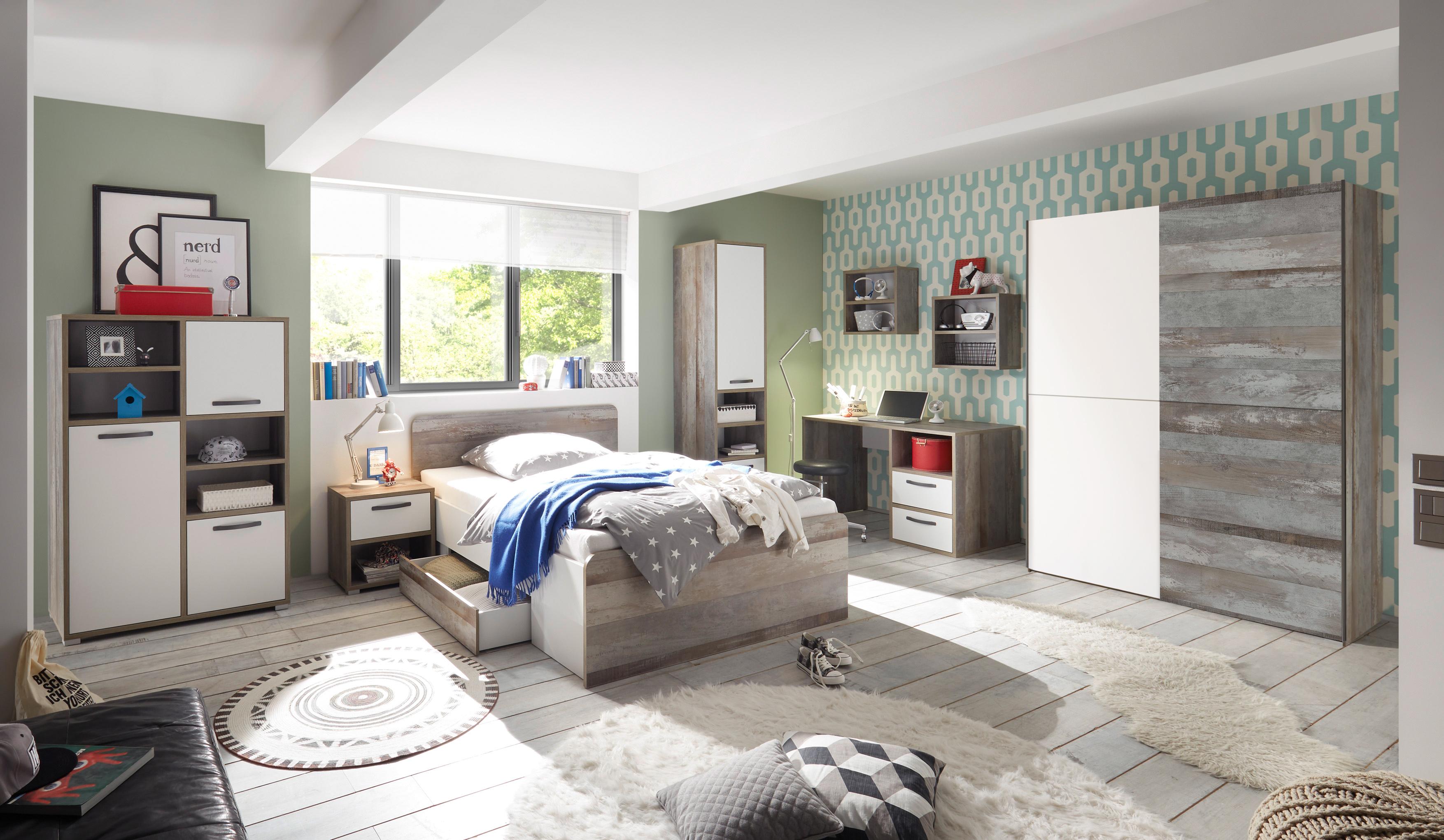 Details Zu Kinderzimmer Moon Jugendzimmer Komplett Set 7tlg Stschrank Bett Driftwood Weiß