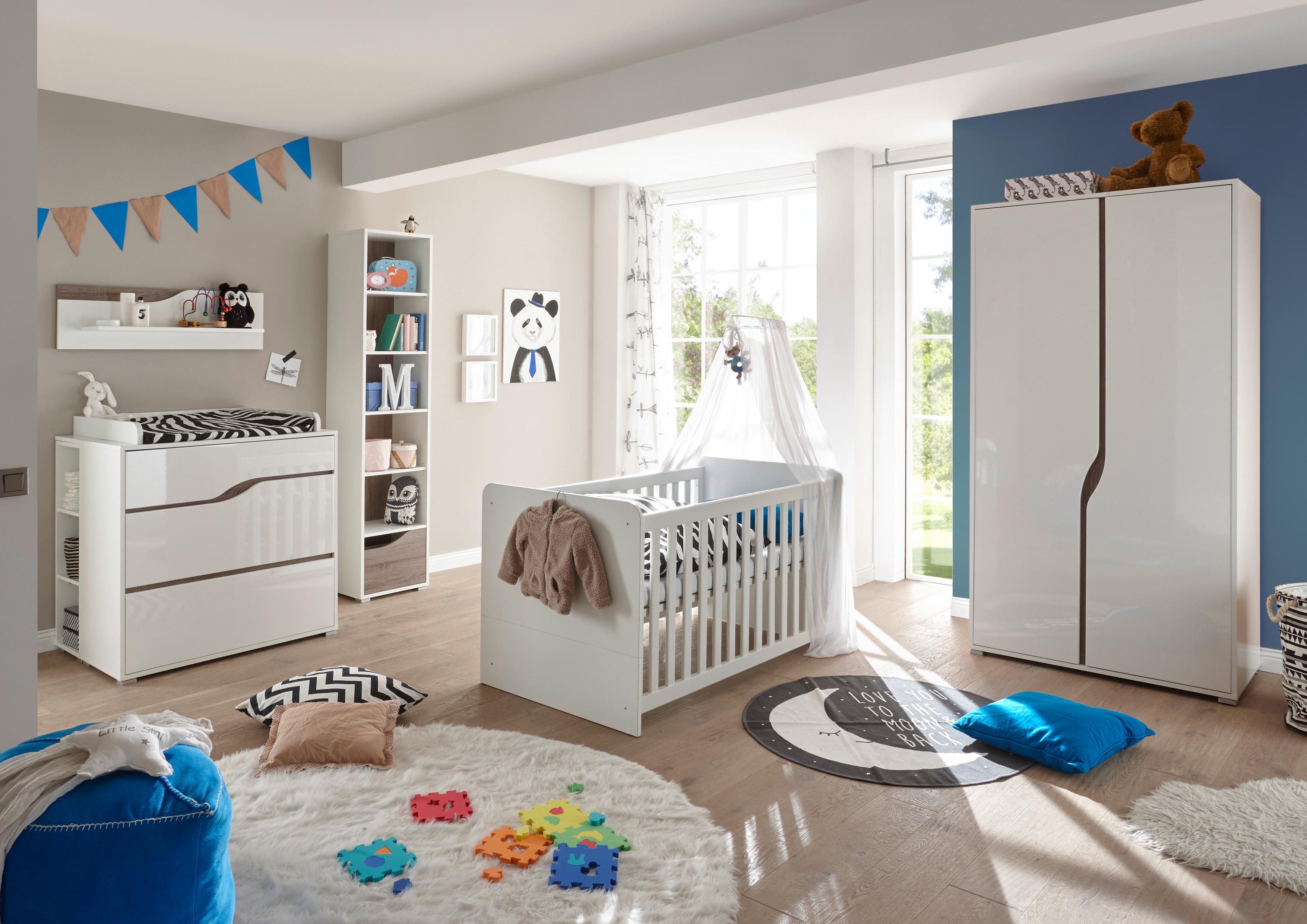 """Details zu Babyzimmer-Set """"MARA"""" 15tlg Wickelkommode Bett Regal Schrank  15-türig weiß"""