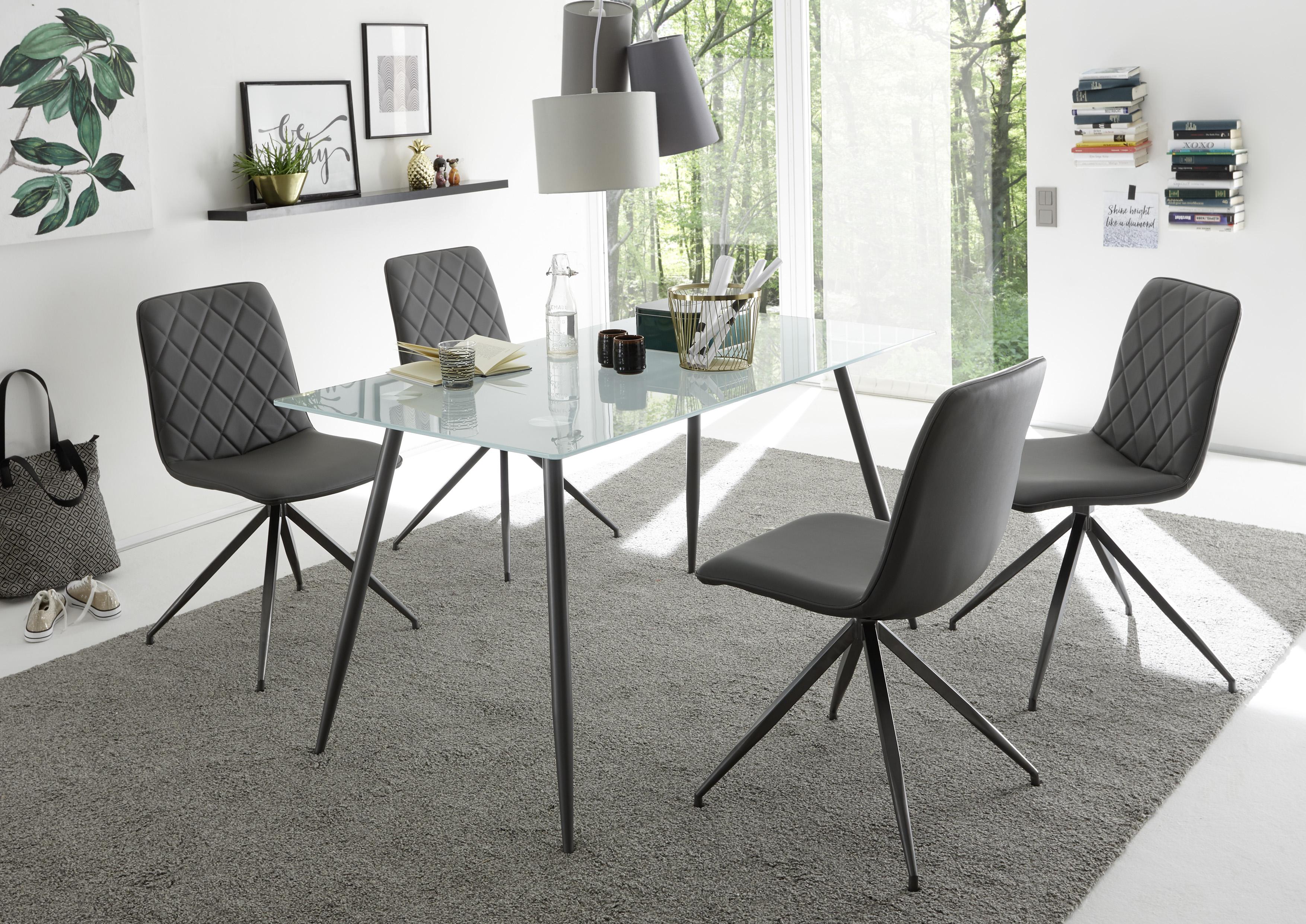 Essgruppe Tischgruppe Kasia Esstisch140cm Mit 4 Stuhlen Glas